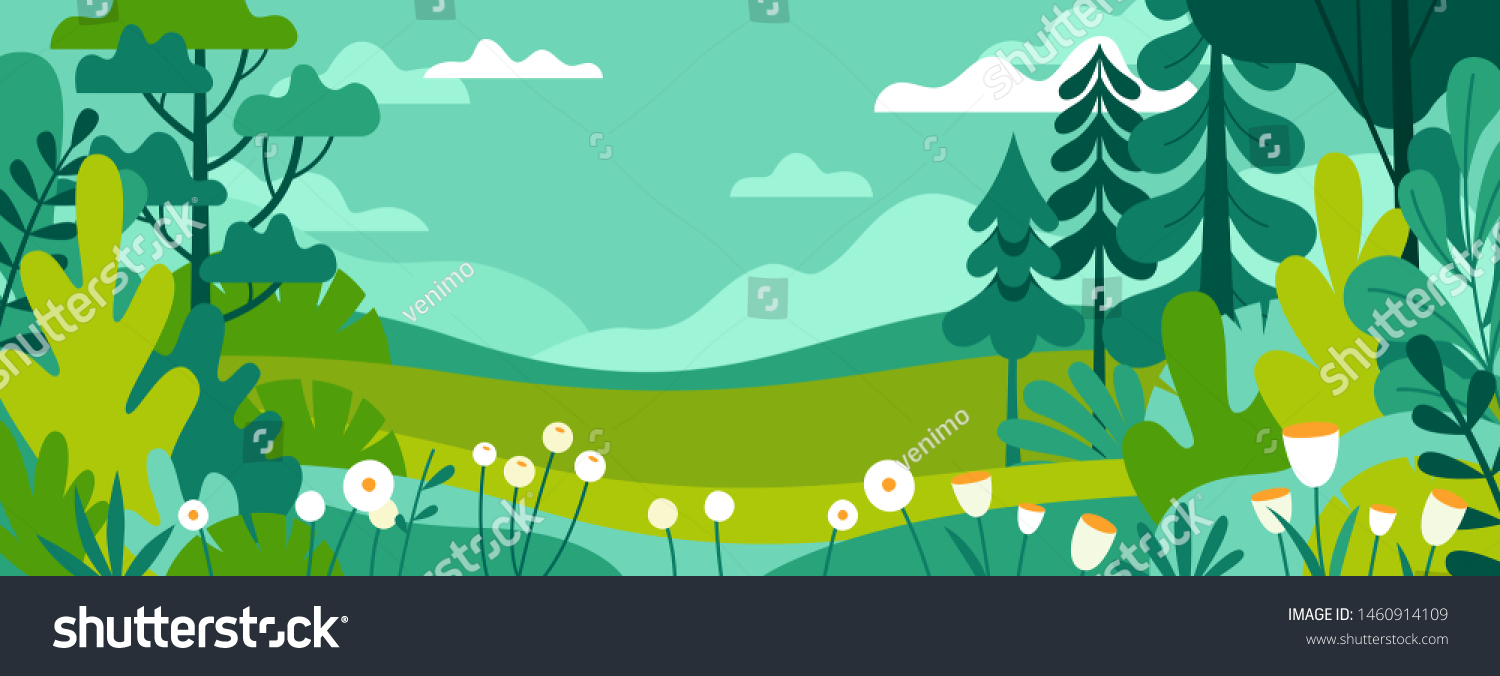 Vector illustration in trendy flat simple style - spring and summer background with copy space for text - landscape with plants, leaves, flowers - background for banner, greeting card, poster and adve #1460914109
