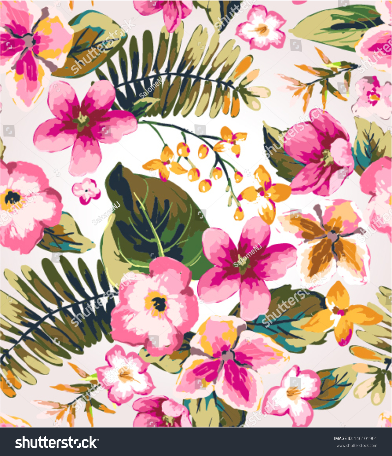 Seamless Hand Draw Tropical Flower Vector Pattern Seamless Hand Draw  Tropical Flower Vector Stock Vector 146101901