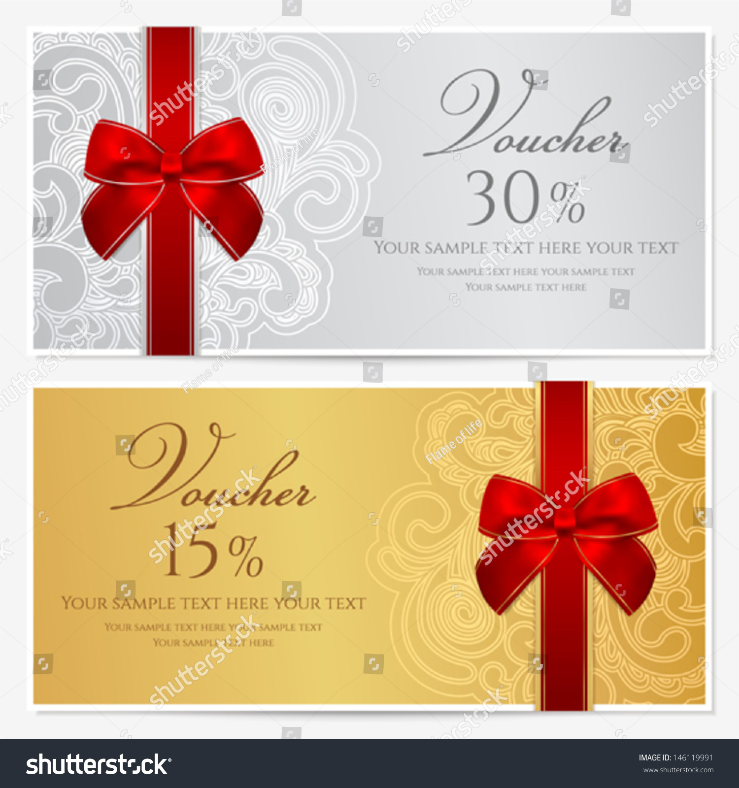 Voucher Gift Certificate Coupon Template Border Stock