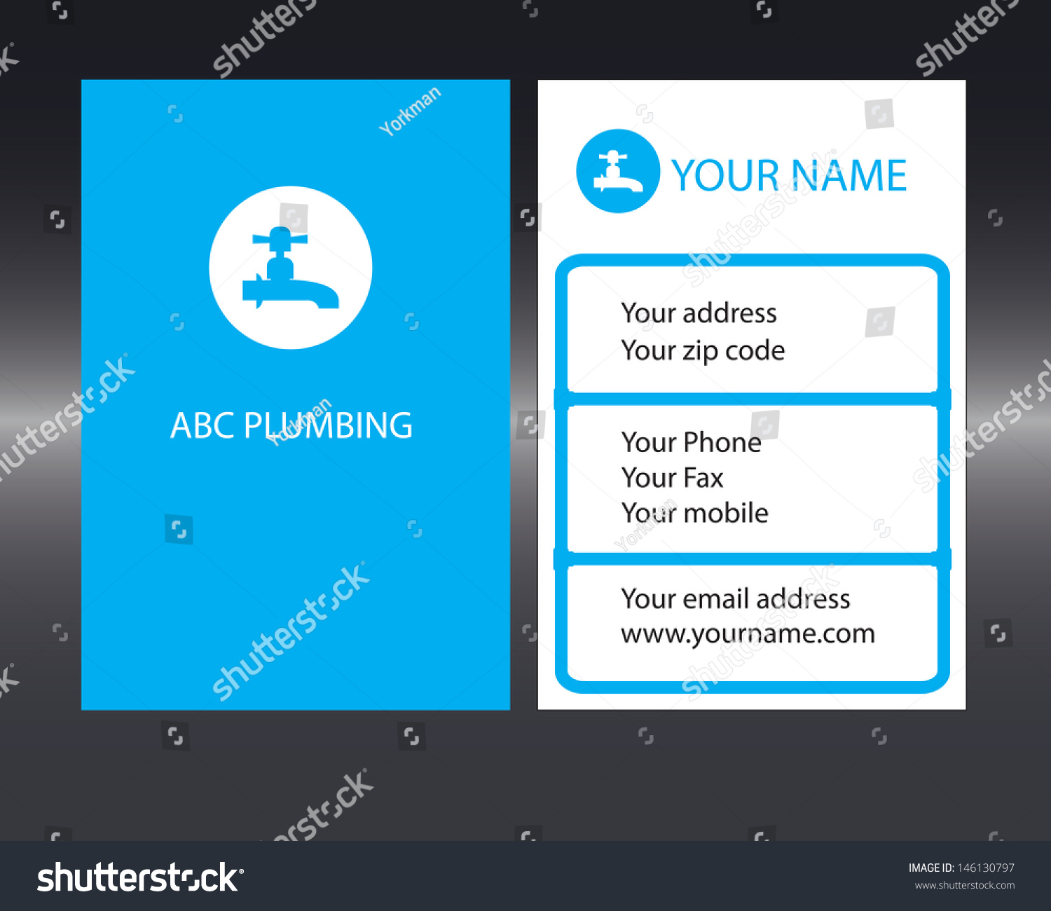 Plumbers Business Card Front Back Designs Stock Vector