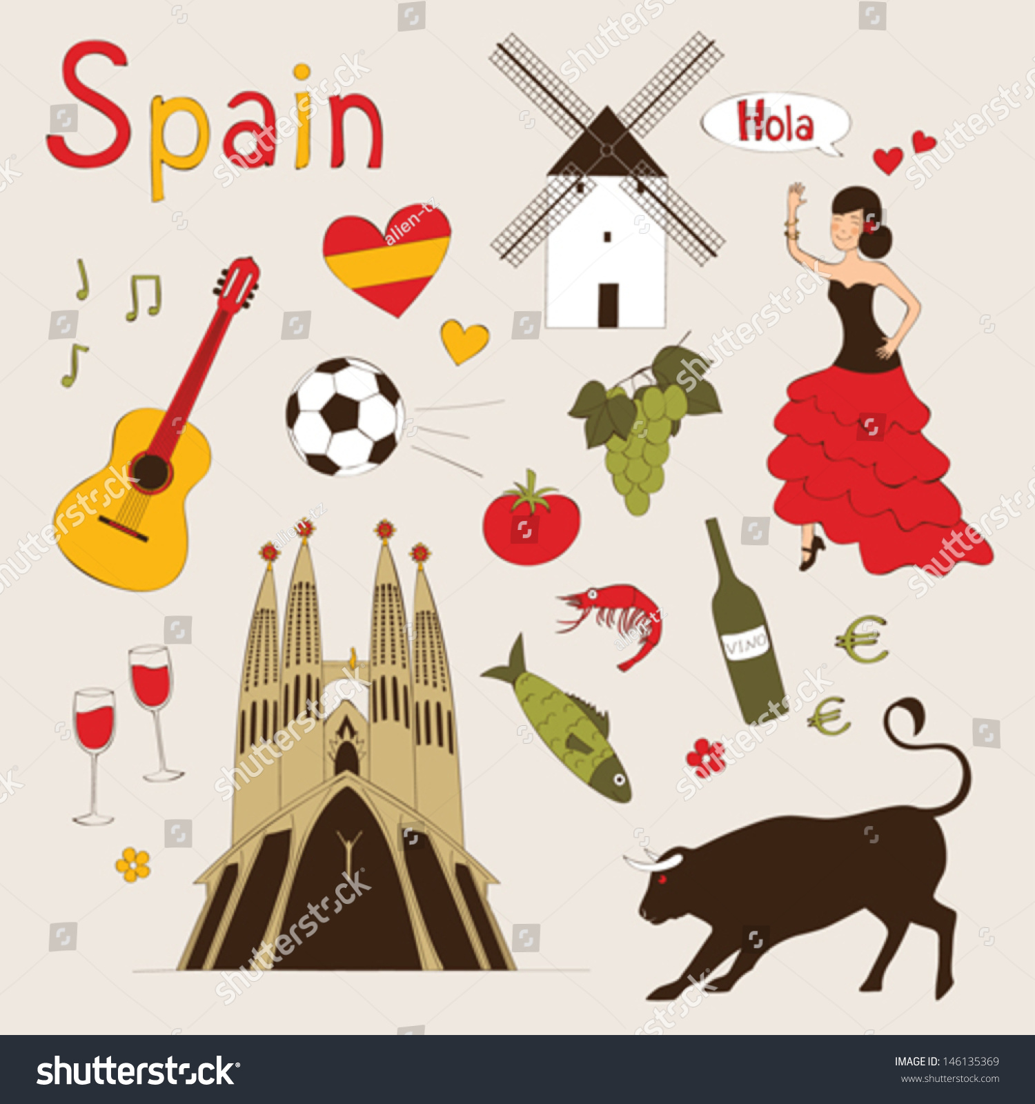 Love Spain Doodles Symbols Spain Endless Stock Vector ...