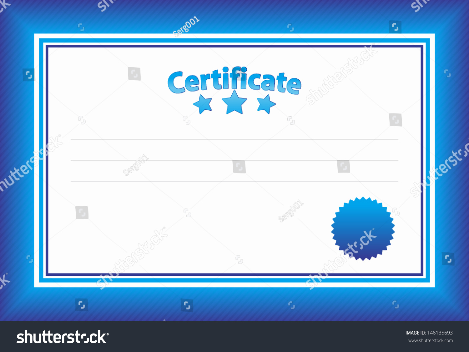 Blue certificate template stock vector 146135693 shutterstock blue certificate template xflitez Images