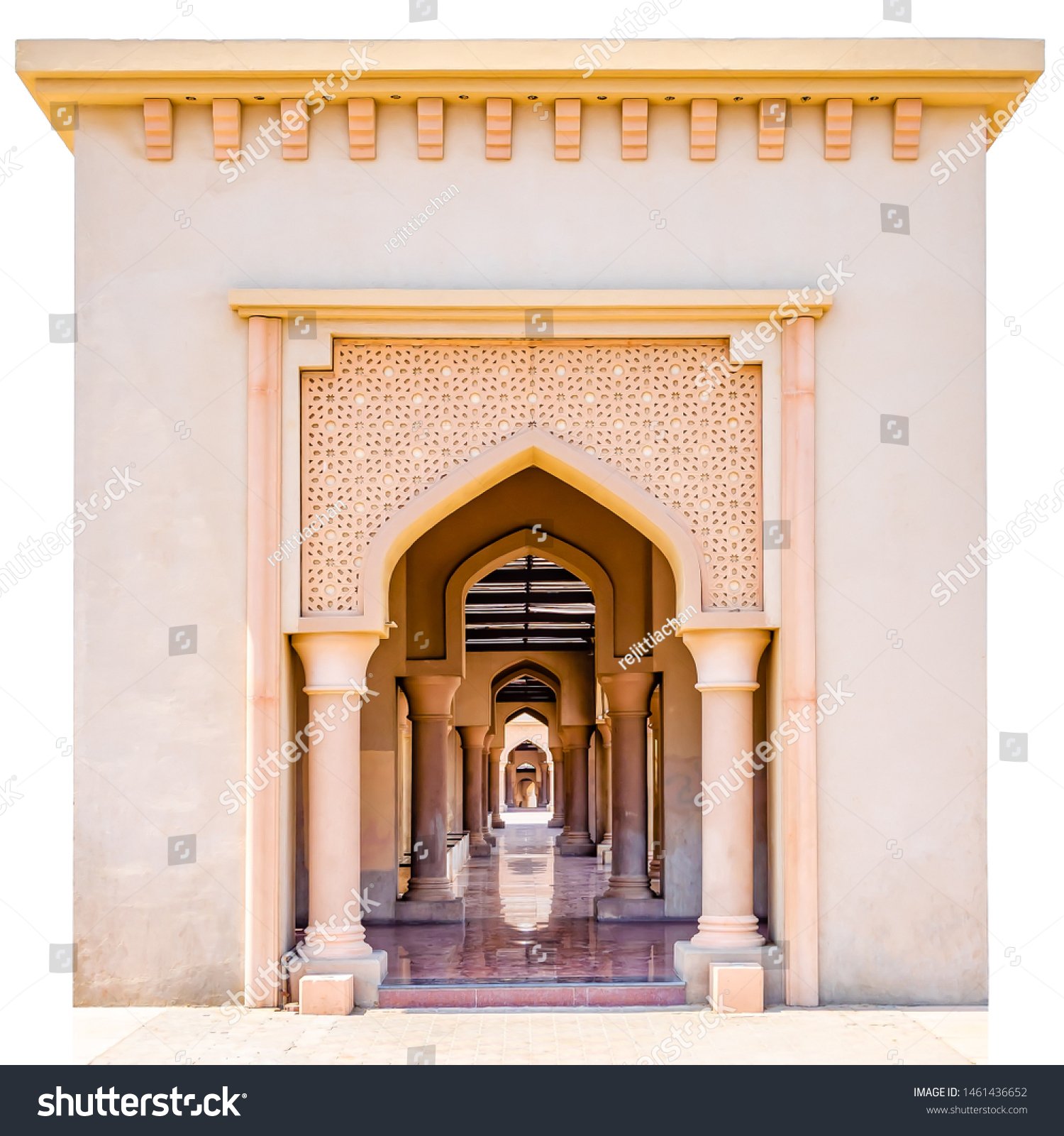 Beautiful arch with artistic patterns and the lengthy corridor with shining floor. Isolated. From Muscat, Oman.