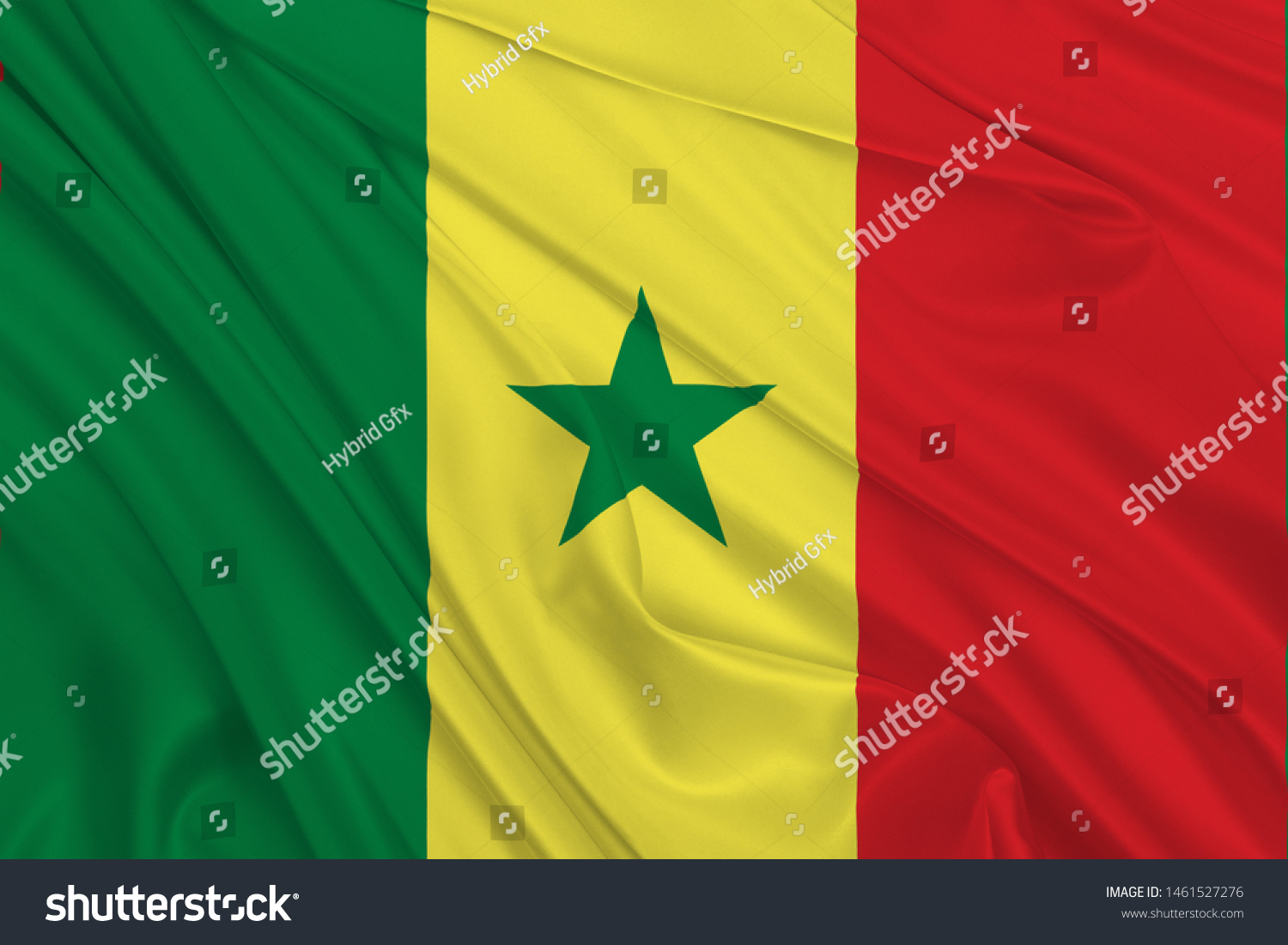 Senegal Flag of Silk, Flag of Senegal fabric texture background. #1461527276