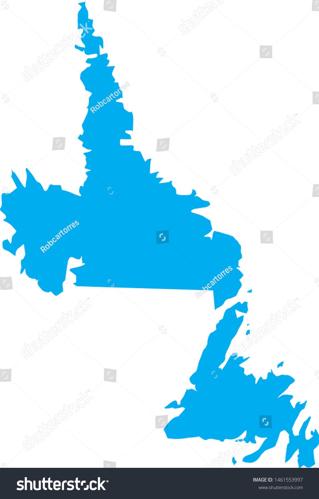 Newfoundland Labrador State Map Canada Stock Vector Royalty Free 1461553997