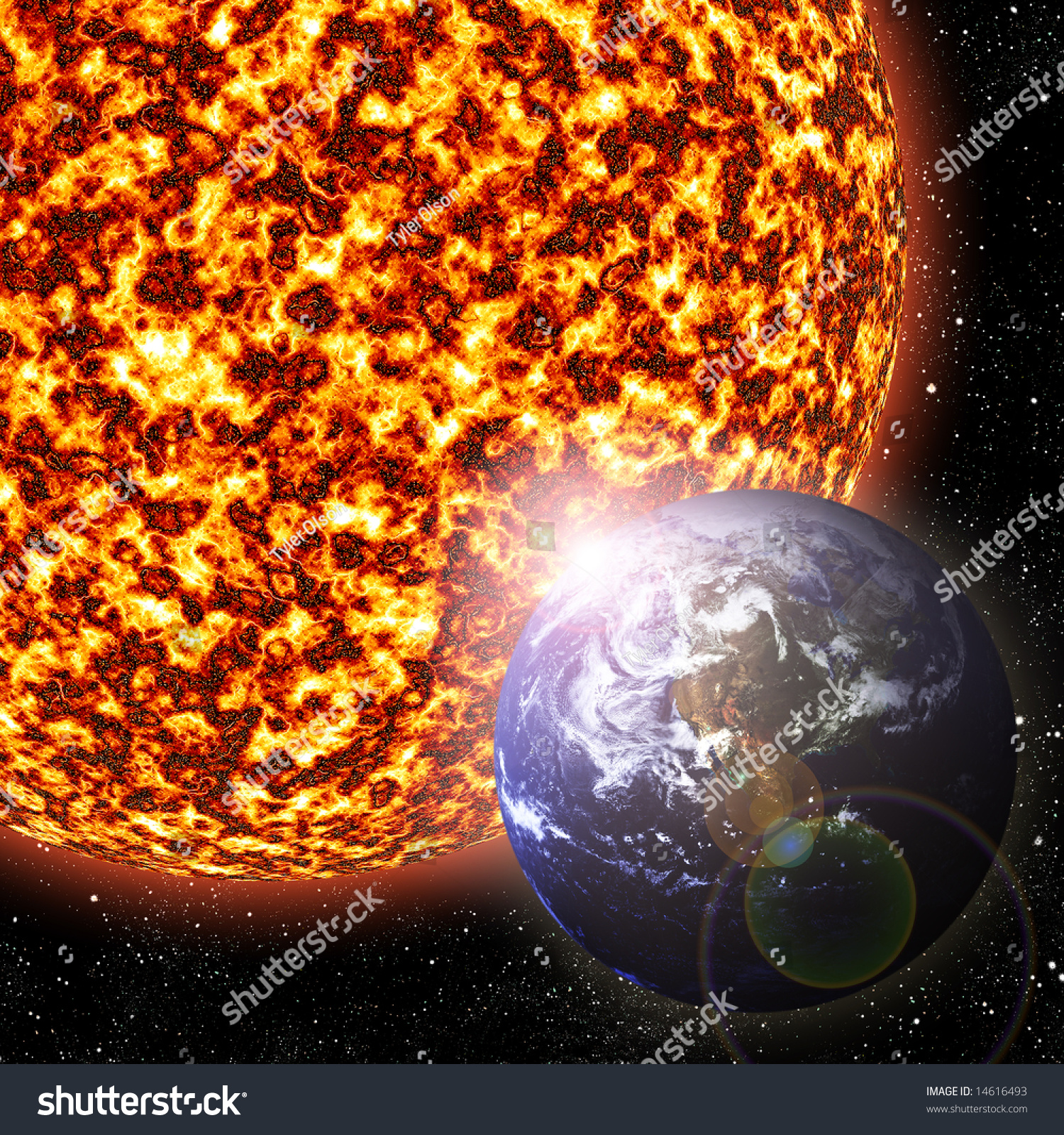 Earth Revolving Around The Sun - 3d Illustration ...