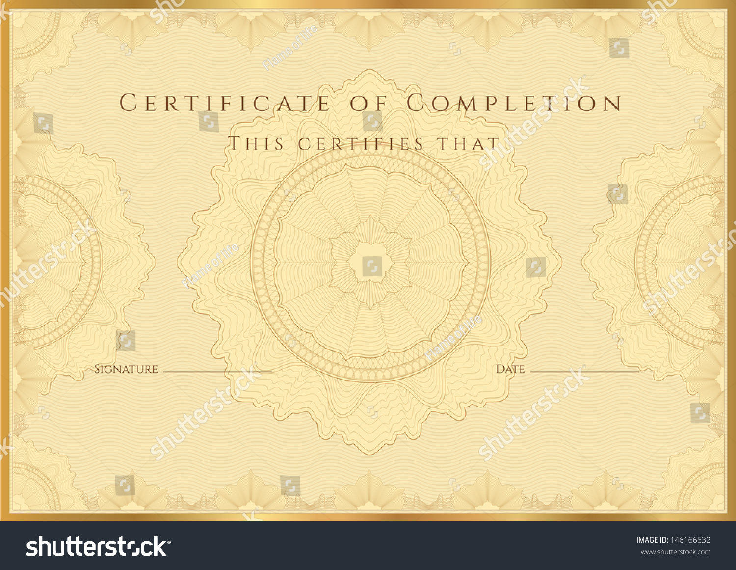 Gold Certificate Completion Template Sample Background – Certificate of Completion Sample