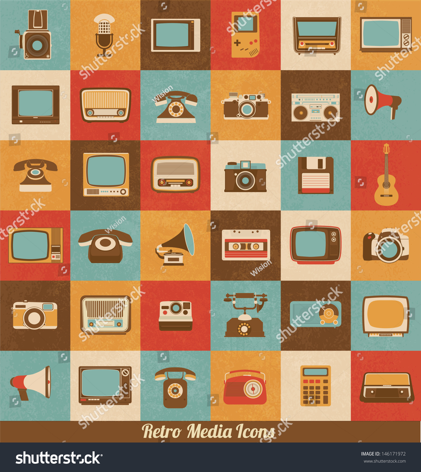 Retro Style Media Icons Vintage Elements Stock Vector