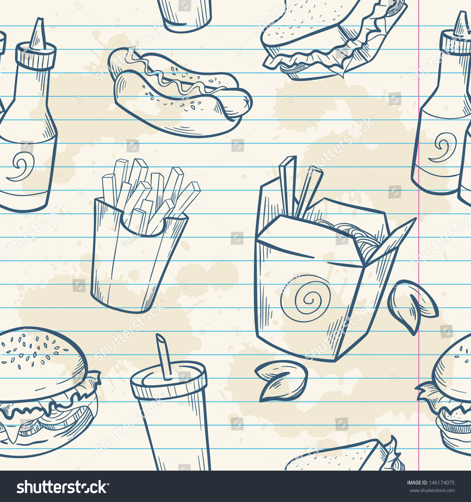 Fastfood Delicious Hand Drawn Vector Seamless Stock Vector
