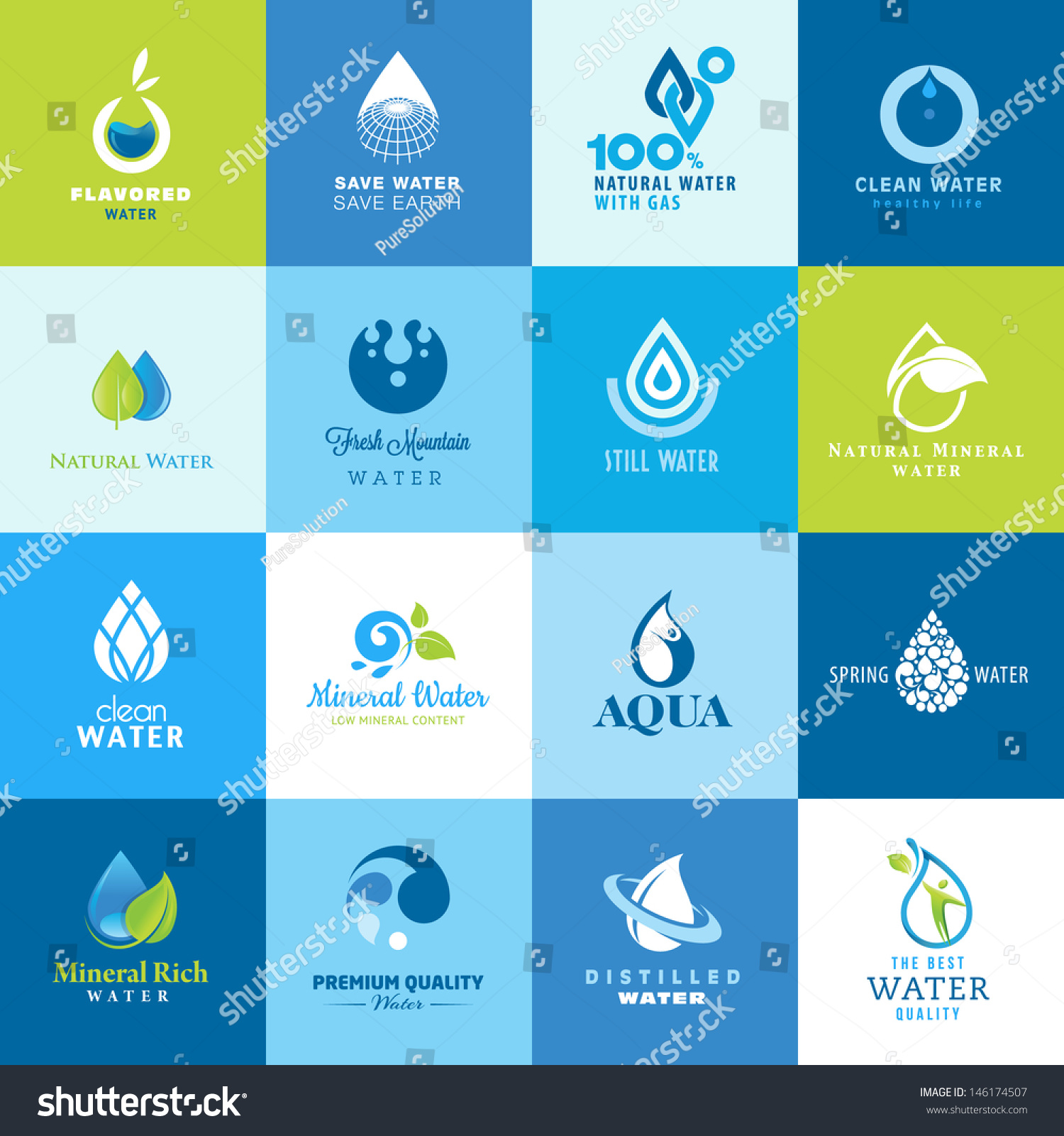 Set icons all types water stock vector 146174507 for All types of water