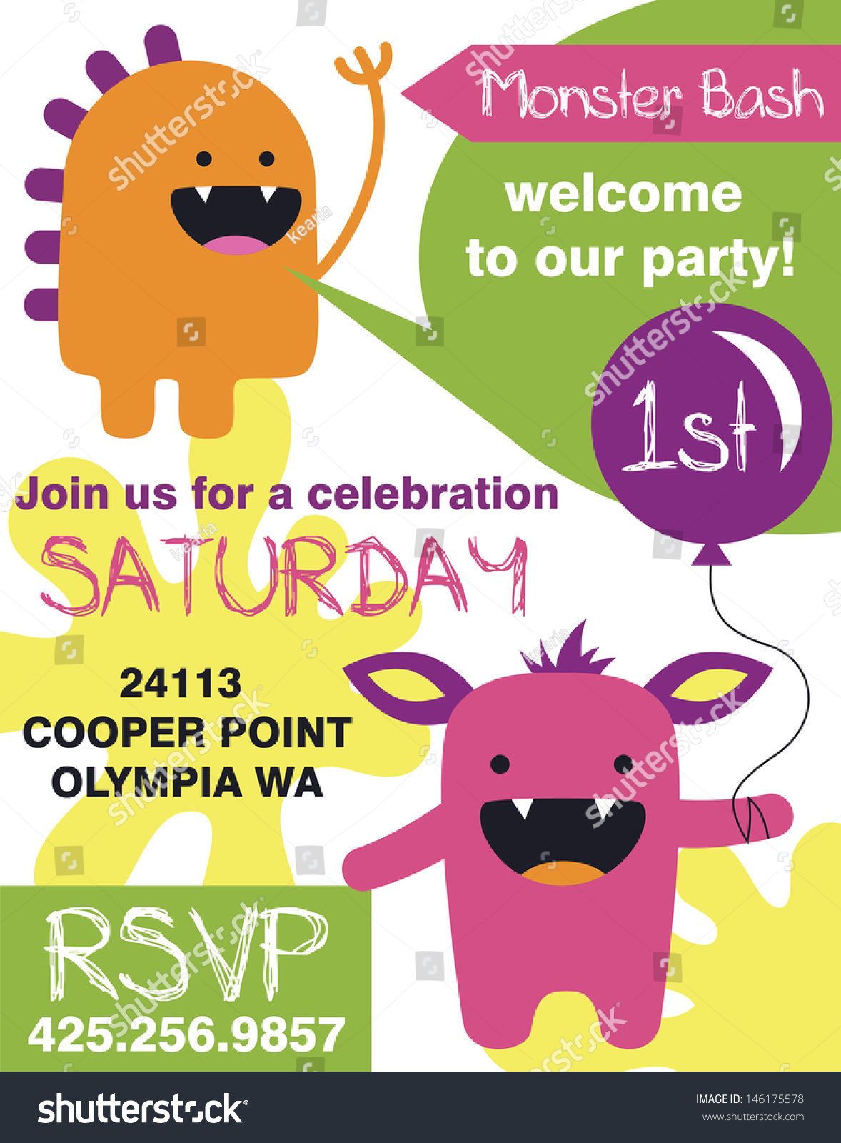 Monster Party Invitation Card Design Vector Vector 146175578 – Party Invitation Card Design