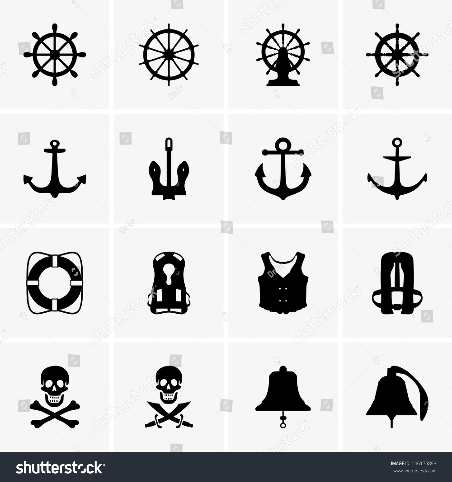 Anchors Wheels Other Stock Vector 146175893 - Shutterstock