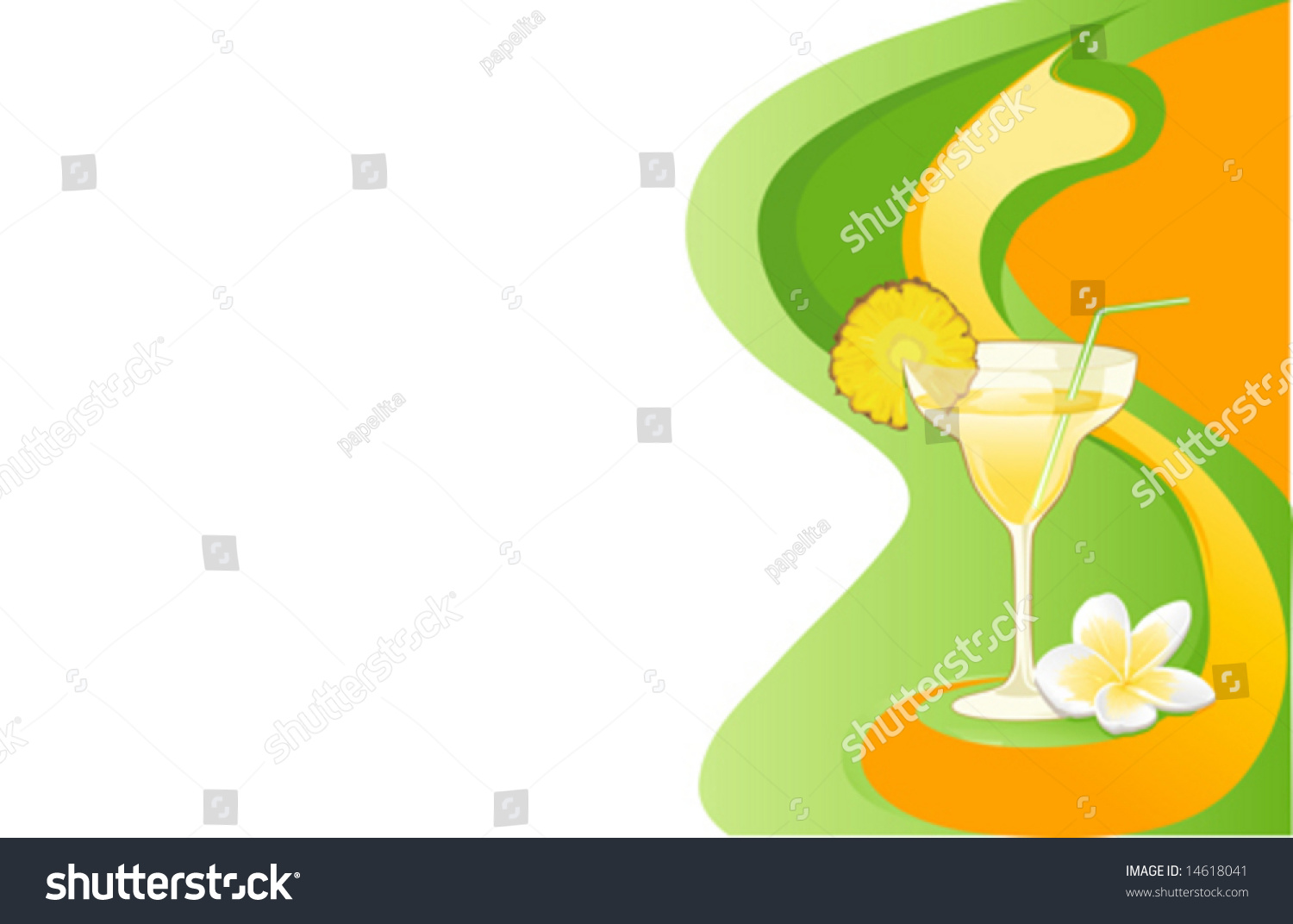 drink abstract card pineapple plumeria stock vector 14618041