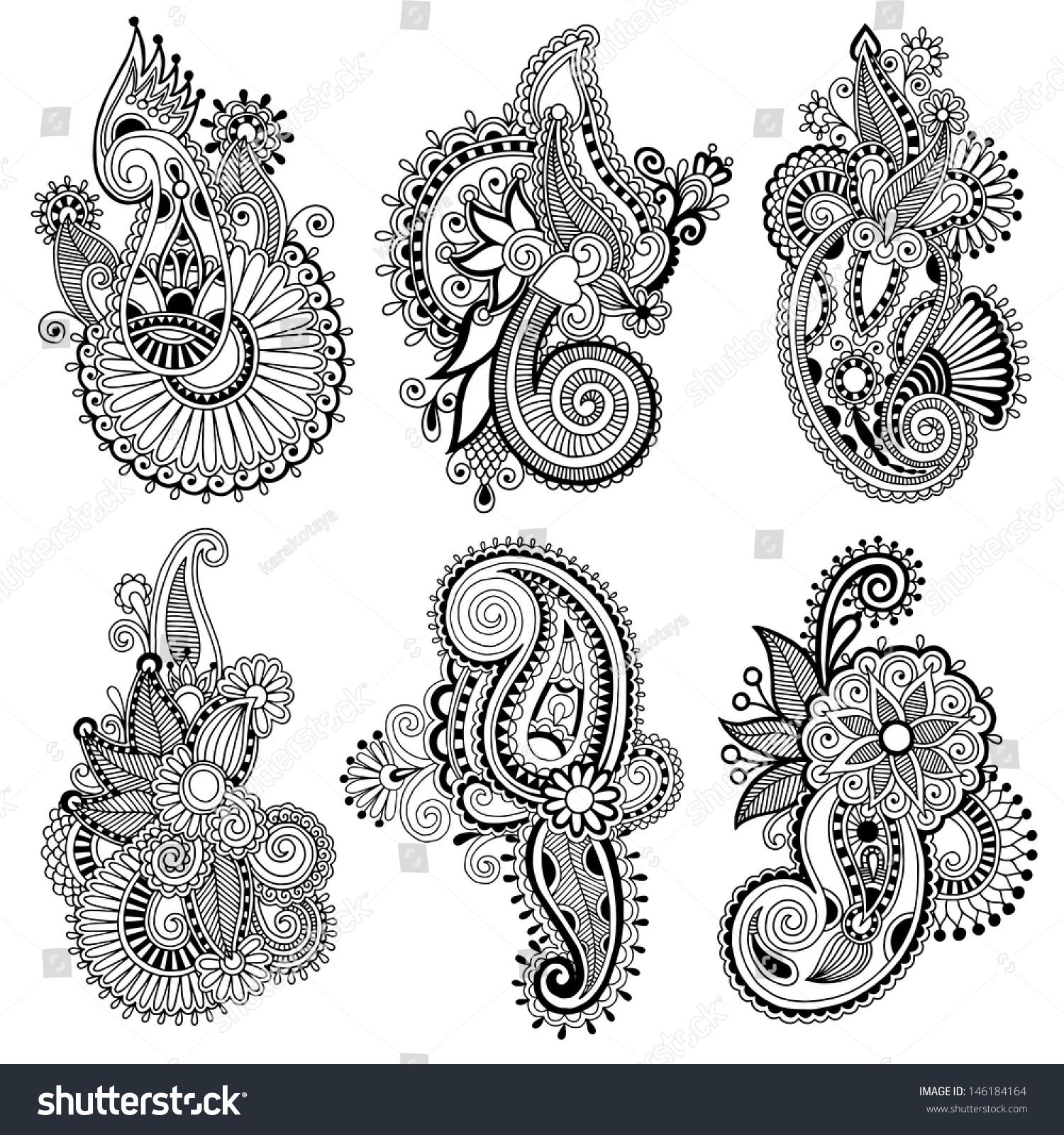 Line Design Art Rubric : Black line art ornate flower design stock vector