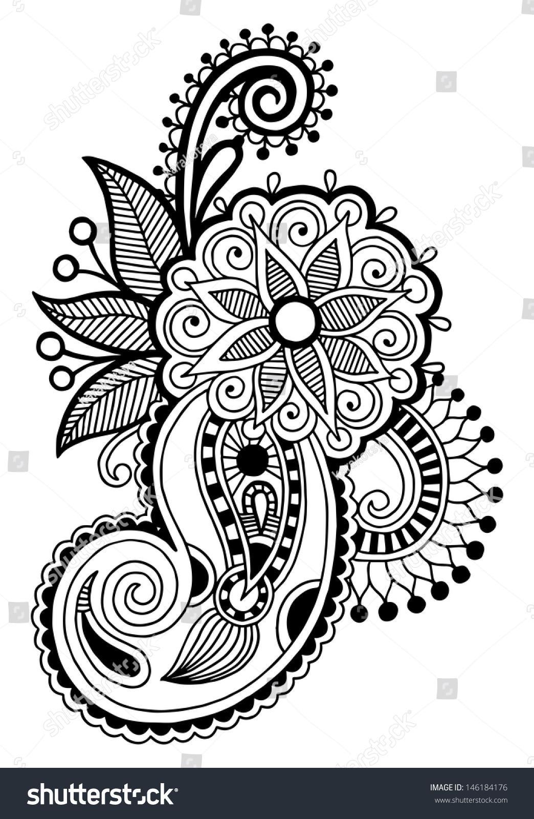 Black Line Art Ornate Flower Design Stockvector Rechtenvrij