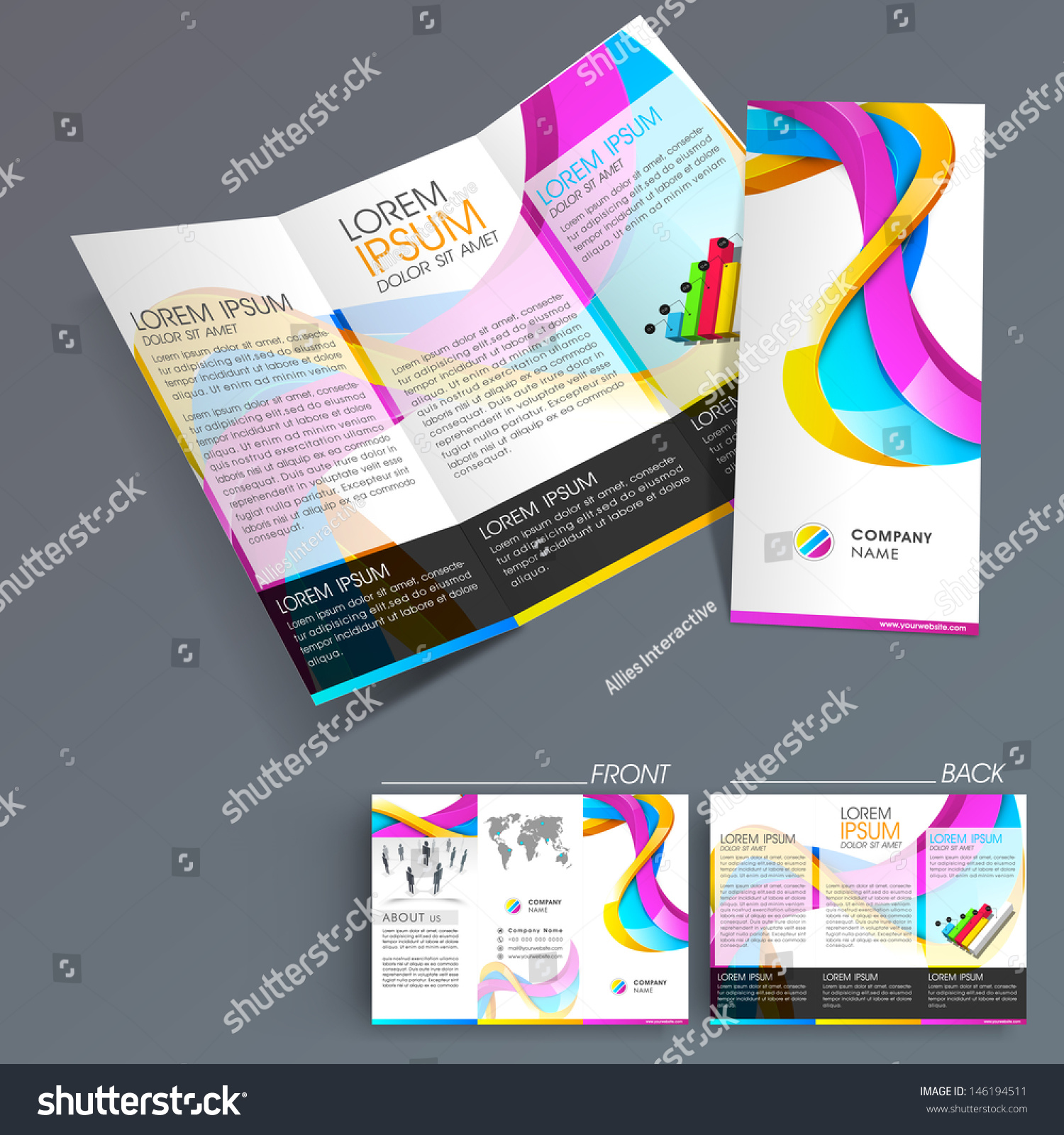 professional business three fold flyer template stock vector professional business three fold flyer template corporate brochure or cover design can be use