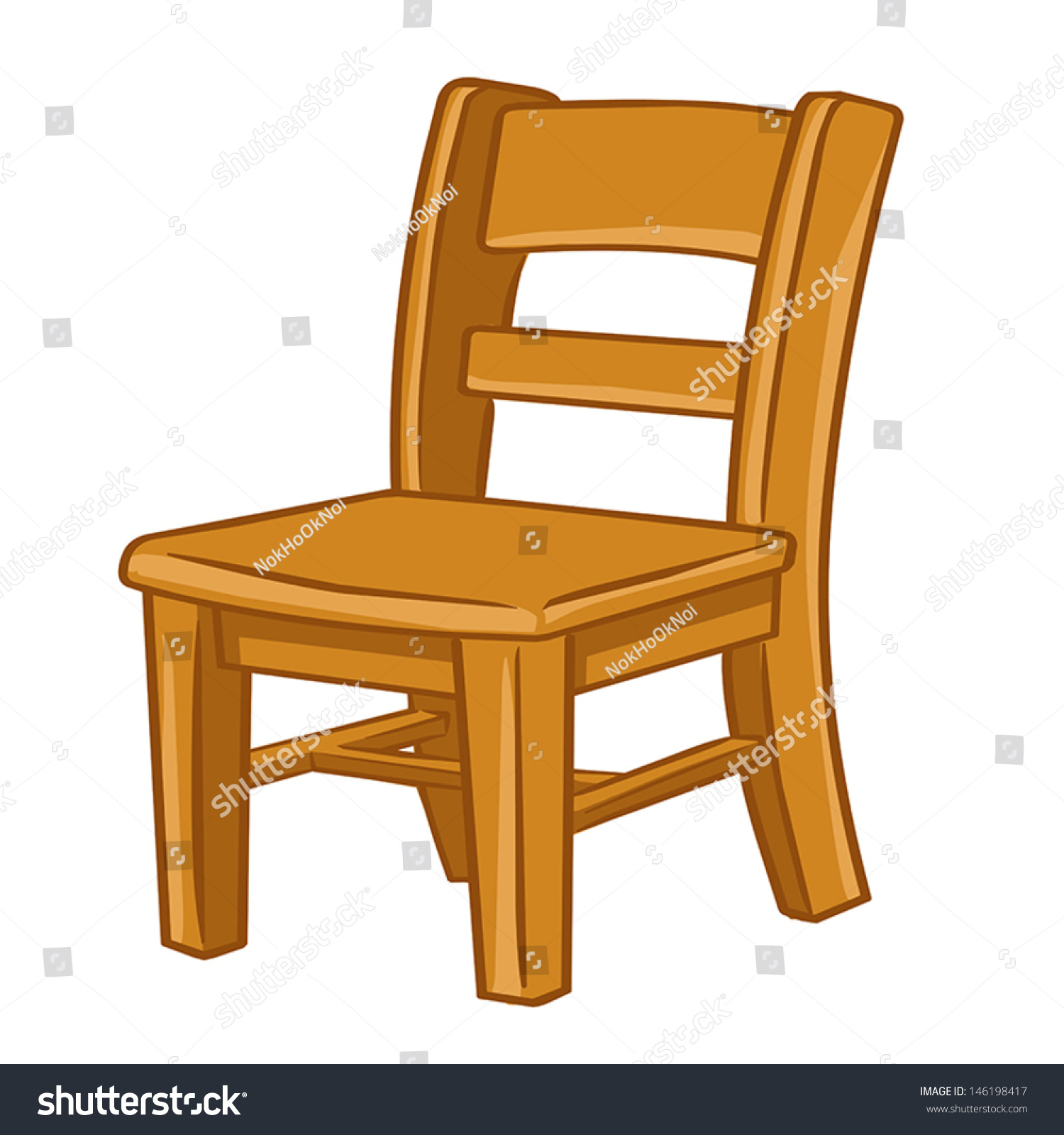 wood chair isolated illustration on white stock vector 146198417 shutterstock. Black Bedroom Furniture Sets. Home Design Ideas
