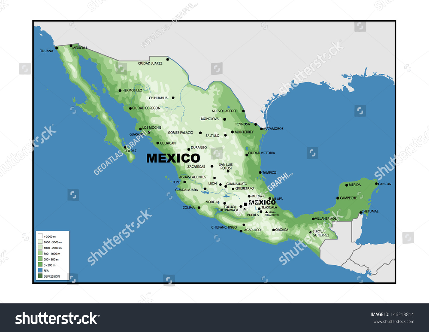 Physical Map Mexico Stock Photo Shutterstock - Mexico physical map