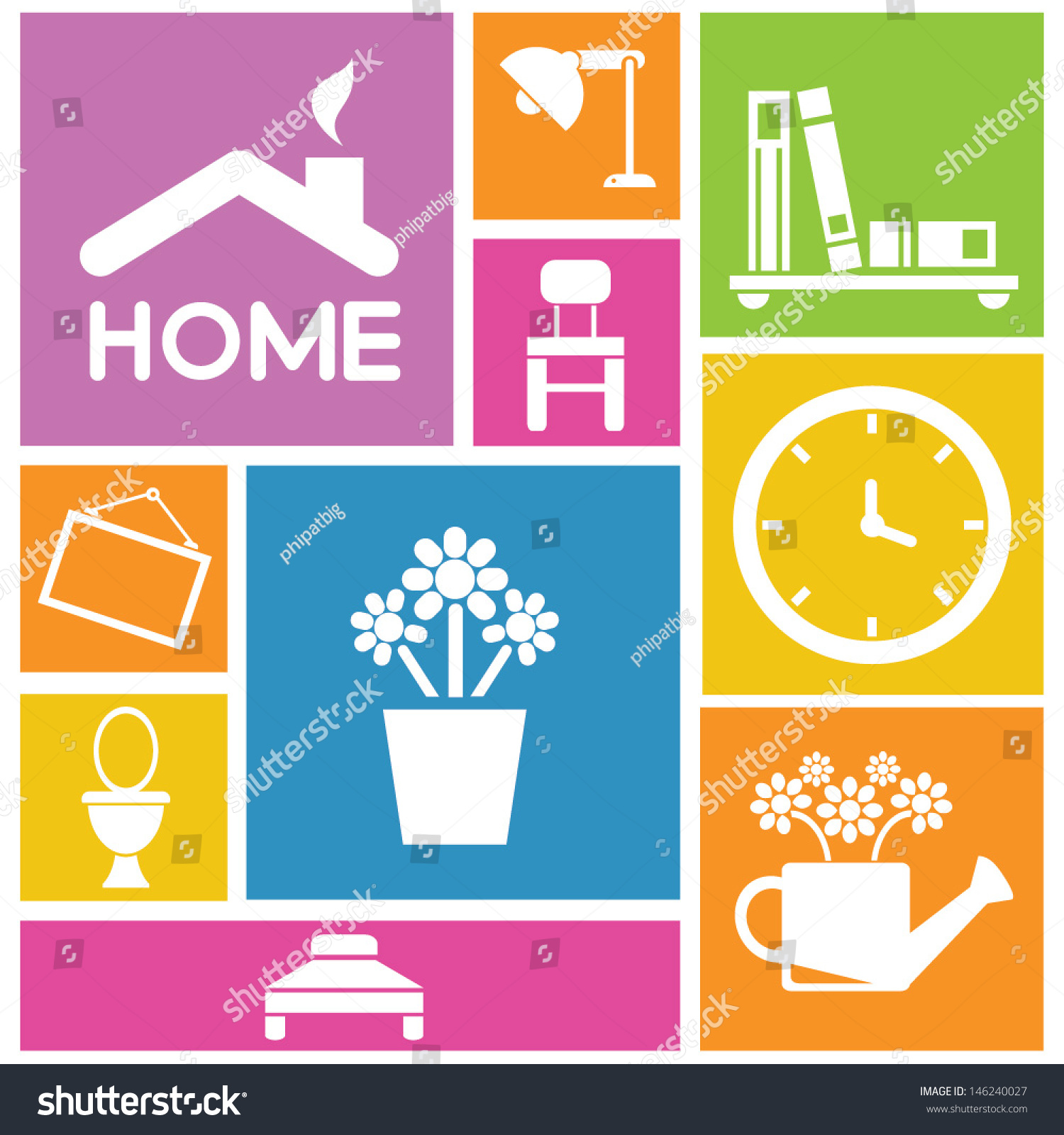Interior Design Home Icons Furniture Background