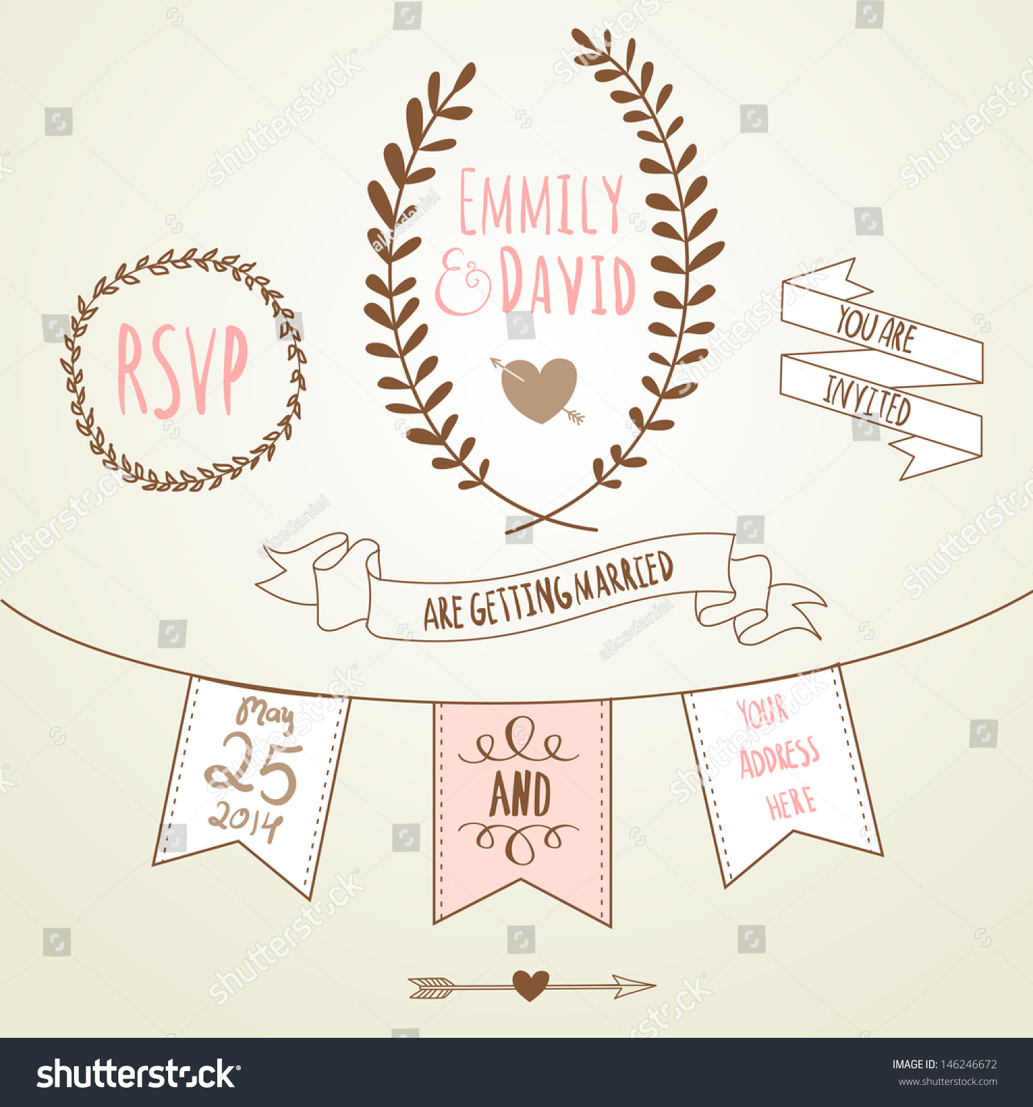 Chalkboard Wedding Invitation Template: Wedding Invitation Template. Chalkboard Style Vector Card