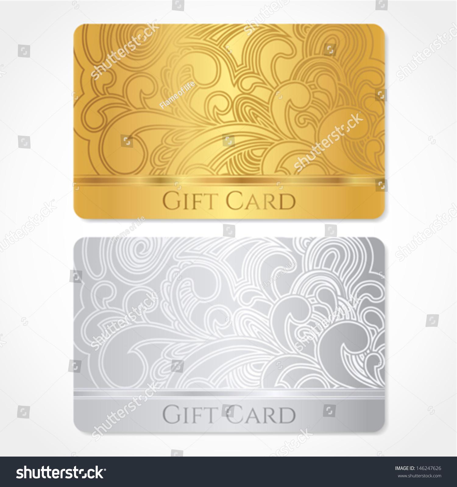 Silver Gold Gift Card Discount Card Stock Vector