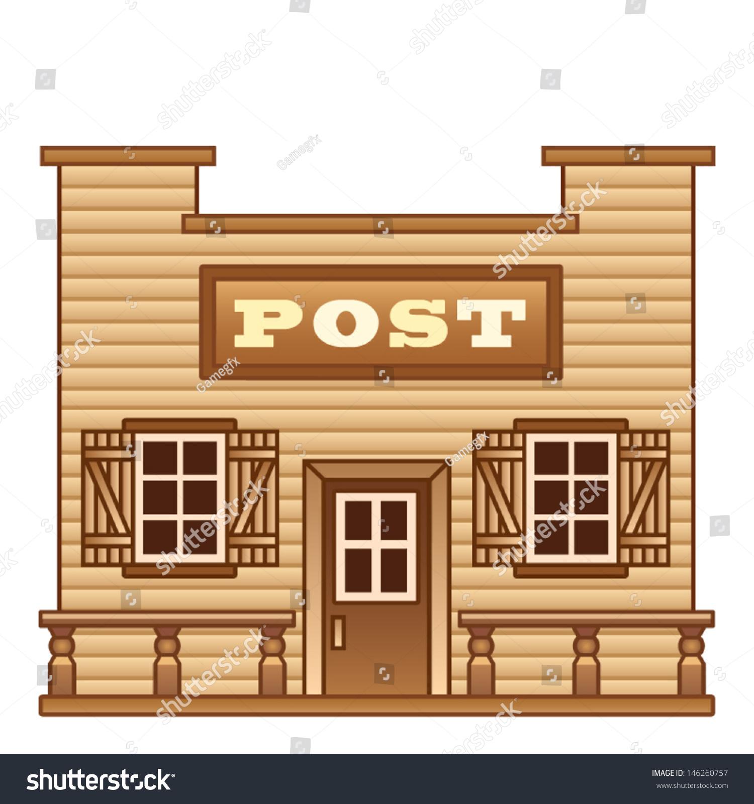 Wild West Post Office Stock Vector 146260757