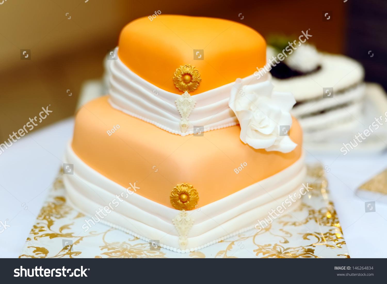 Wedding Cake Covered White Rolled Fondant Stock Photo (Edit Now ...