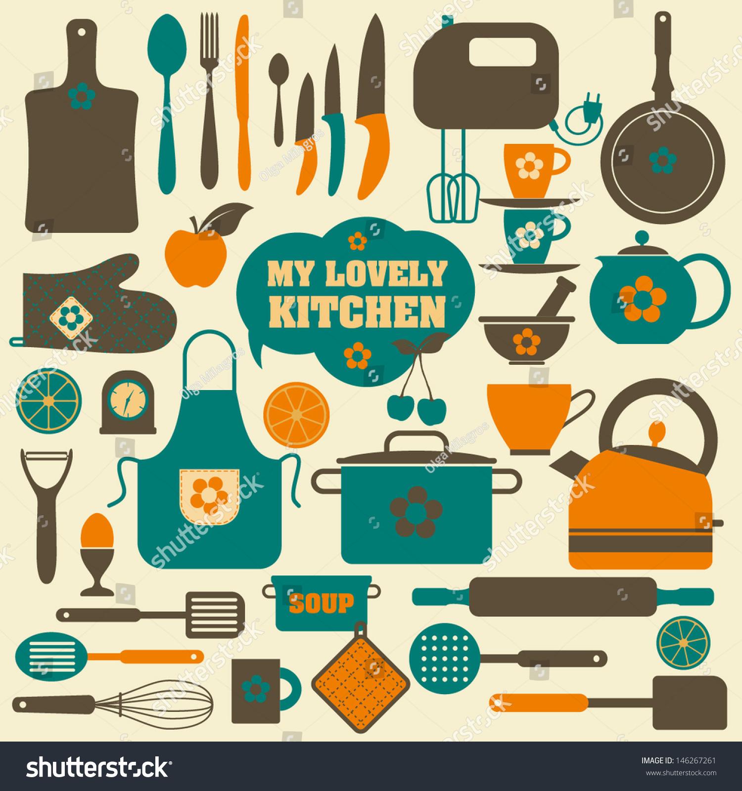 Kitchen set icon stock vector 146267261 shutterstock for Kitchen set vector