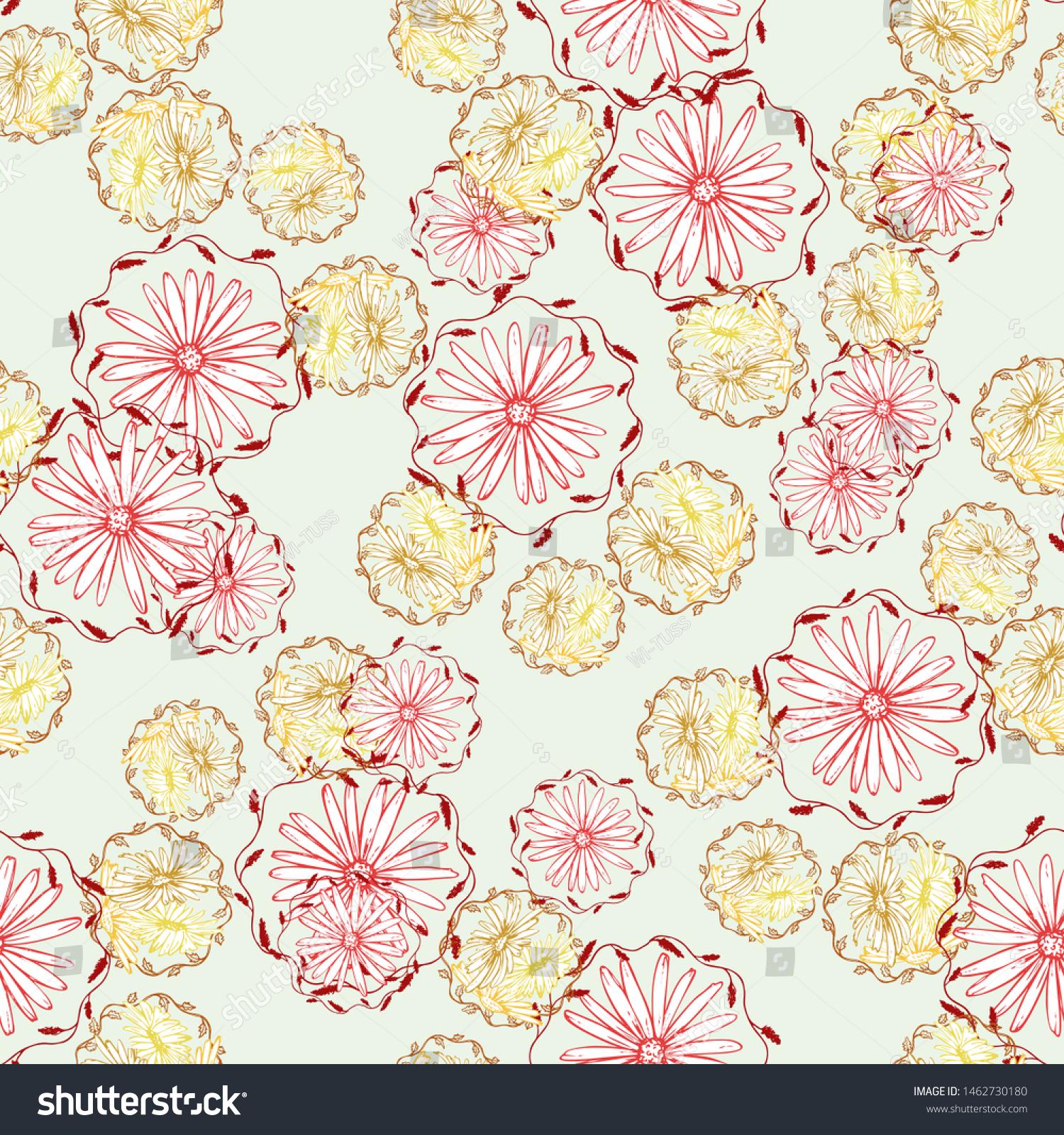 Retro Collection Fabric Wallpapercolorful Color Artsy Stock Vector