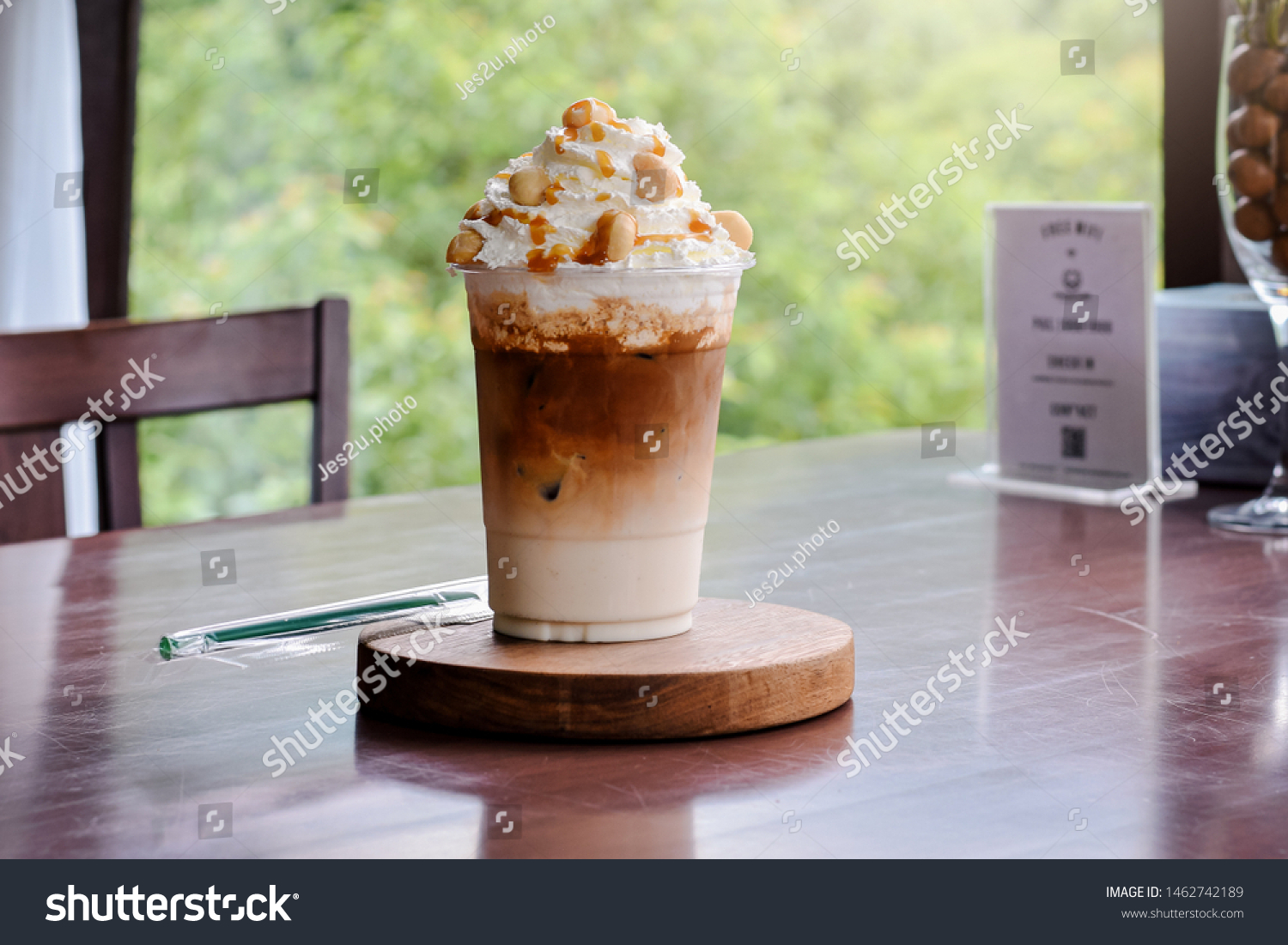 Cold Coffee Iced Caramel Macchiato Layered Stock Photo Edit Now 1462742189