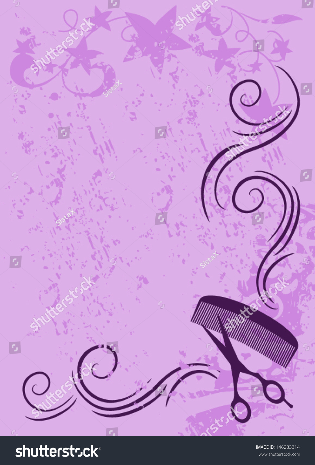 Ornament Vector Beauty Salon Background Purple Stock