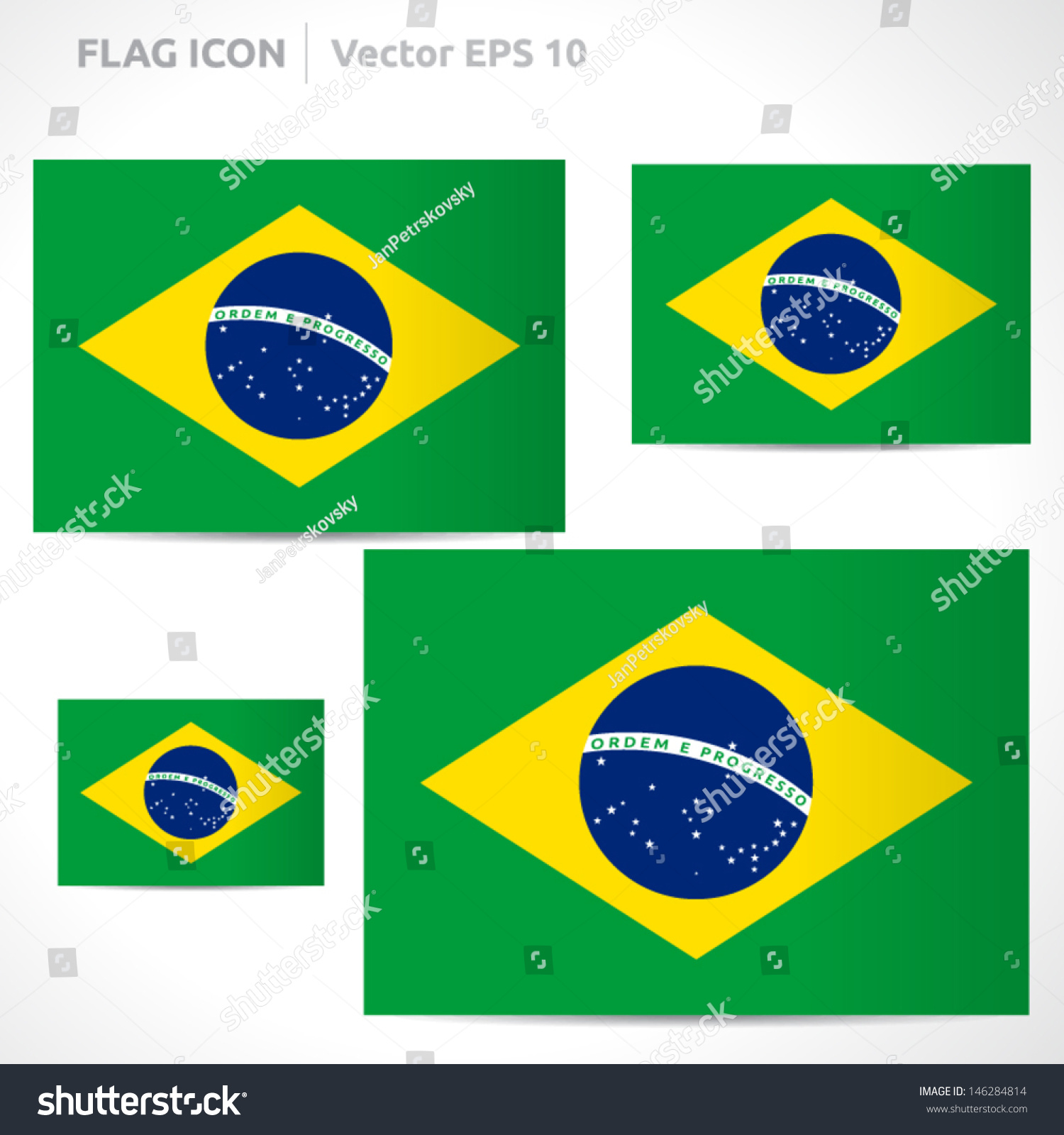 Brazil Flag Template Vector Symbol Design Stock Vector (Royalty Free