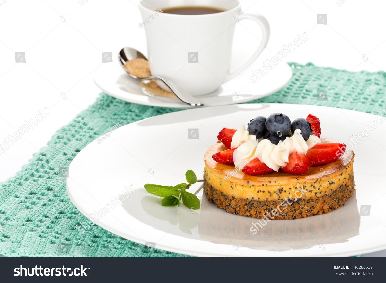 Cheesecake Strawberry Blueberry Mint Cream On Stock Photo ...