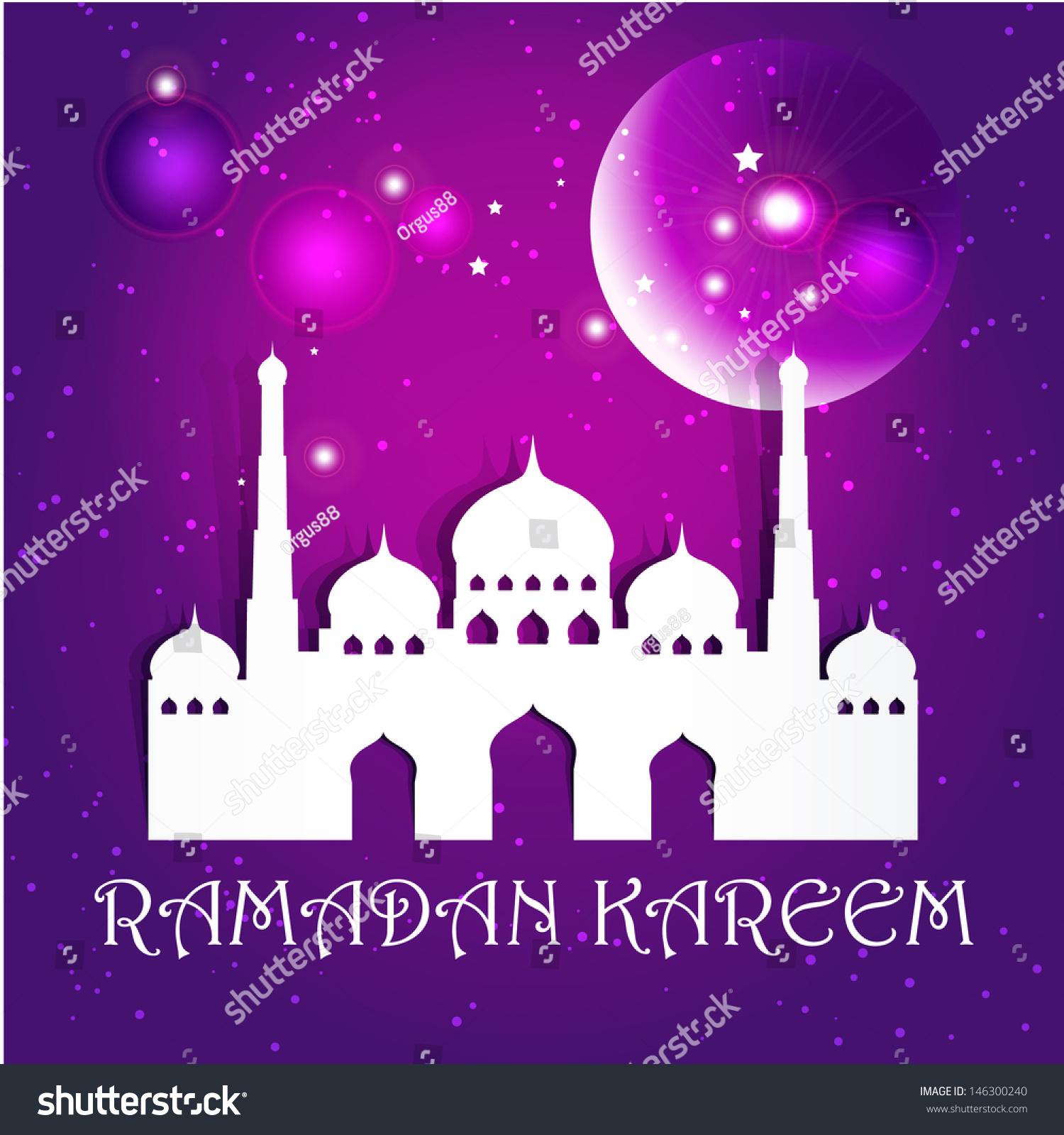 Ramazan kareem greeting card mosque crescent stock vector 146300240 ramazan kareem greeting card mosque and crescent moon with stars ramazan kareem on night islamic kristyandbryce Image collections
