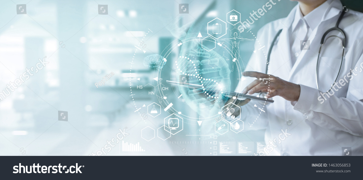 Medicine doctor touching electronic medical record on tablet. DNA. Digital healthcare and network connection on hologram modern virtual screen interface, medical technology and futuristic concept. #1463056853