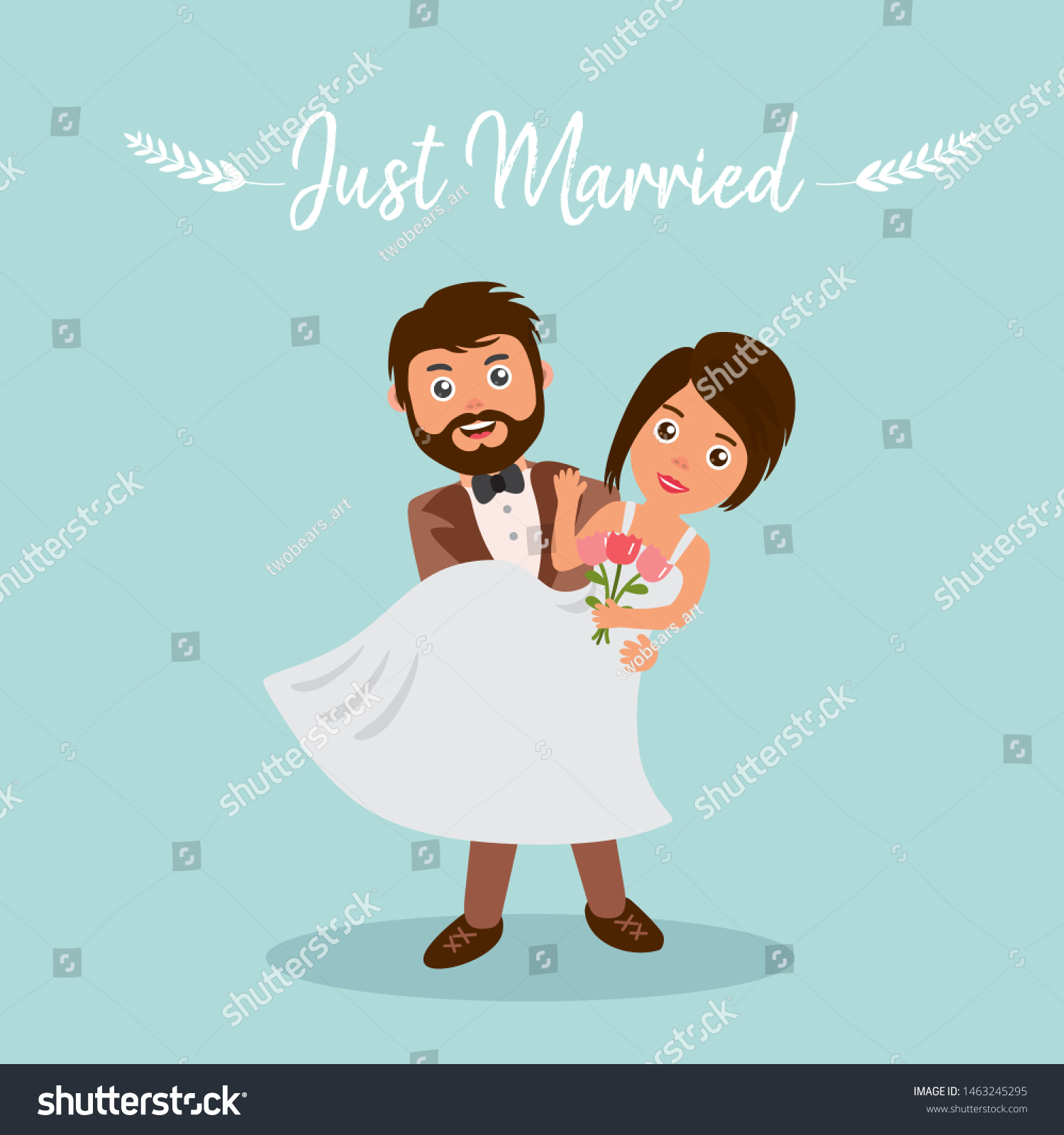 Happy Wedding Couple Bride Groom Just Stock Vector Royalty Free 1463245295