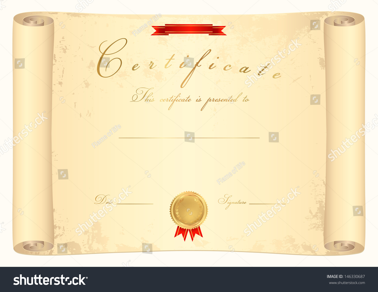 Scroll certificate of completion (template or sample background) with ...