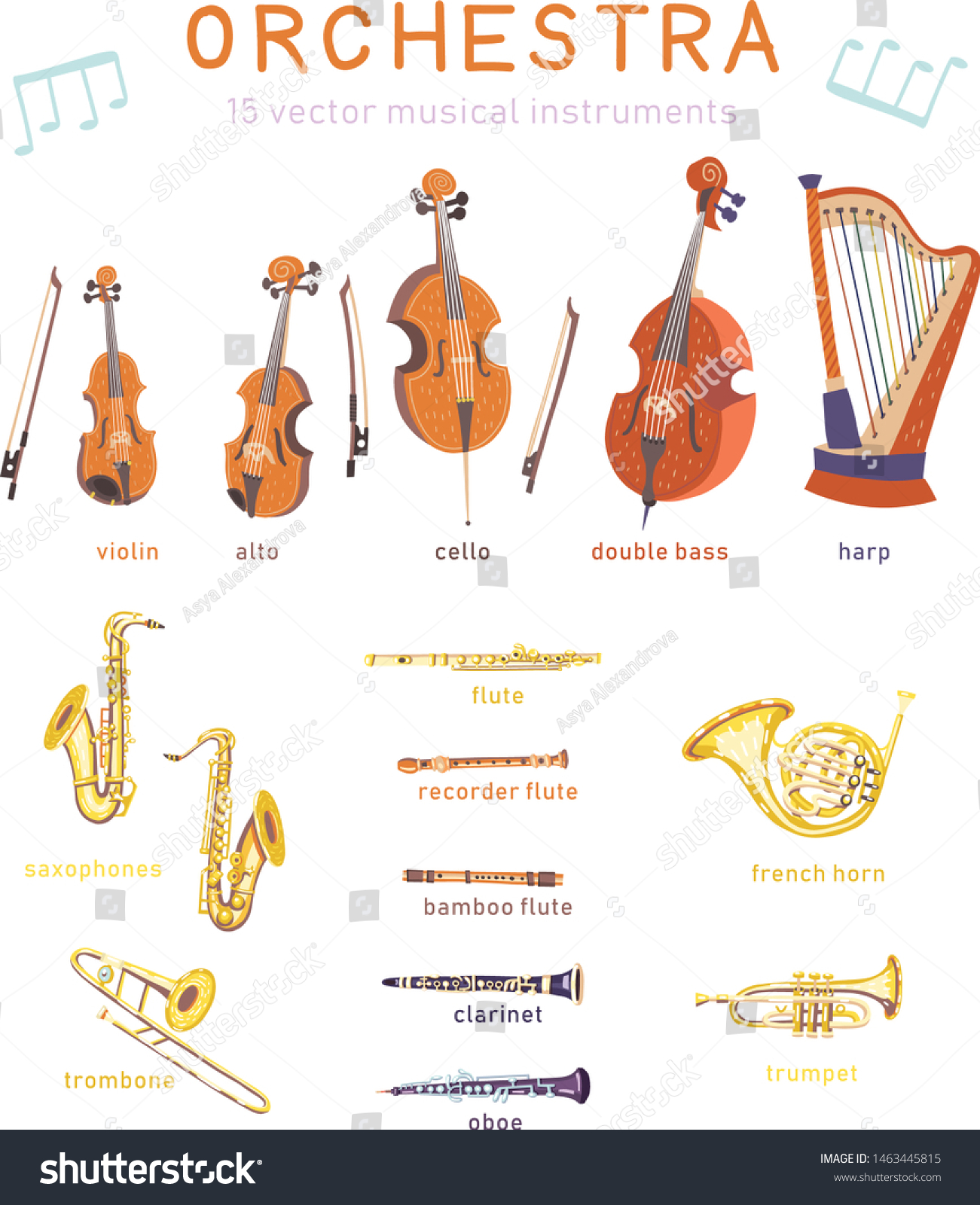 Big Set Vector Strings Wind Classical Stock Vector Royalty