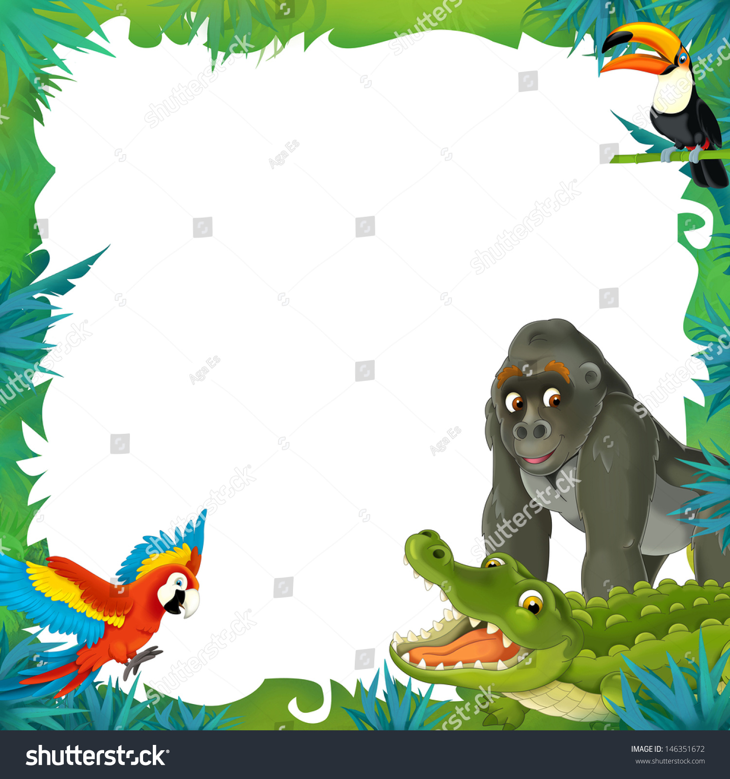 Royalty-free Cartoon safari - jungle - frame border… #146351672 ...