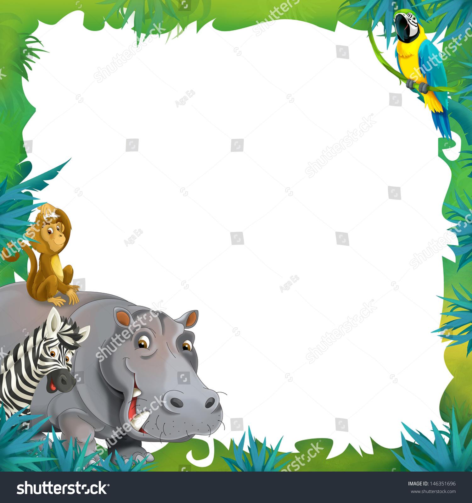 cartoon safari jungle frame border template stock