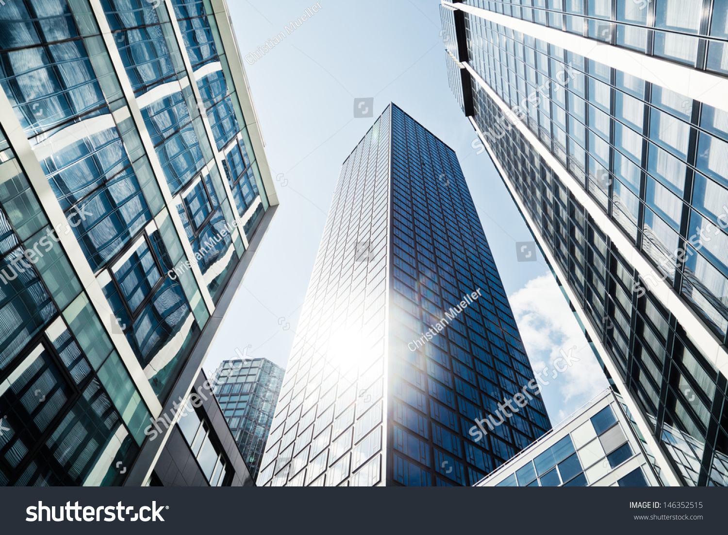 Low Angle View Of Modern Office Buildings Photo: Modern Office Buildings Low Angle View Stock Photo