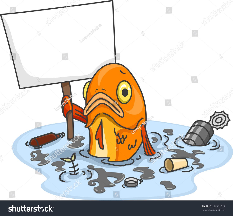 illustration sad fish polluted water carrying stock vector Cartoon Shrimp Cartoon Shrimp Clip Art