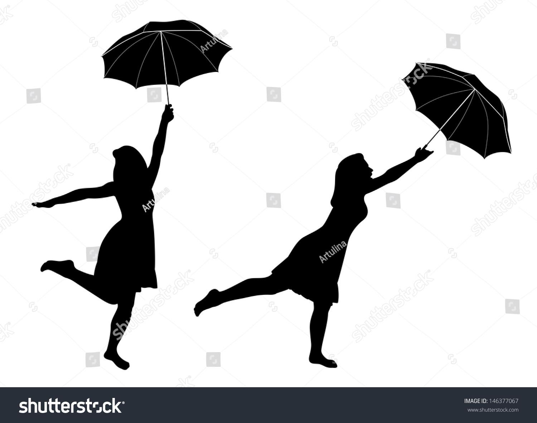 Silhouettes Girl Umbrella Stock Vector 146377067 ...