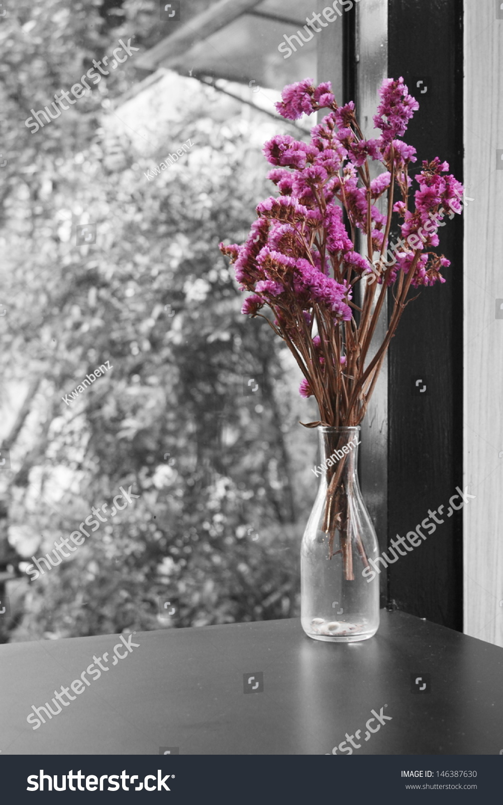 Bouquet Dried Pink Statice Flowers Glass Stock Photo Edit Now
