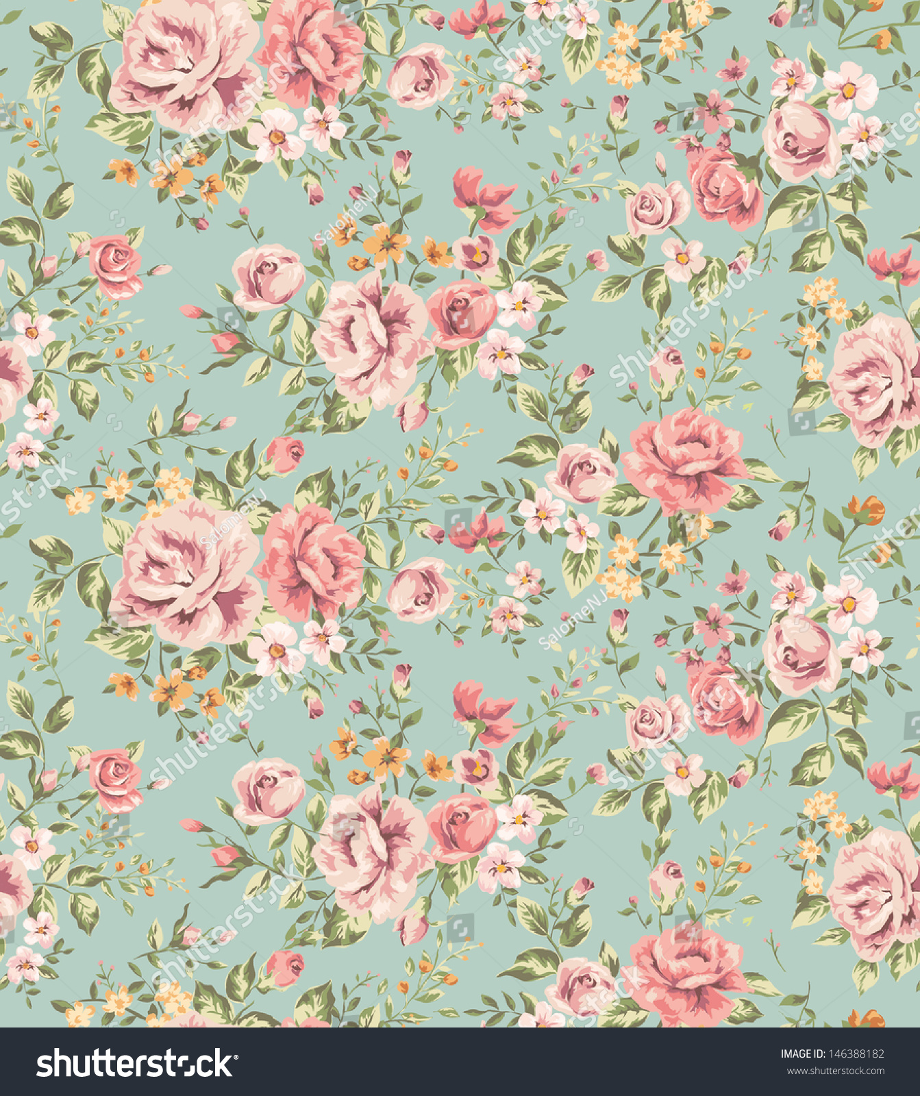 Classic wallpaper seamless vintage flower pattern stock - Papel vintage pared ...