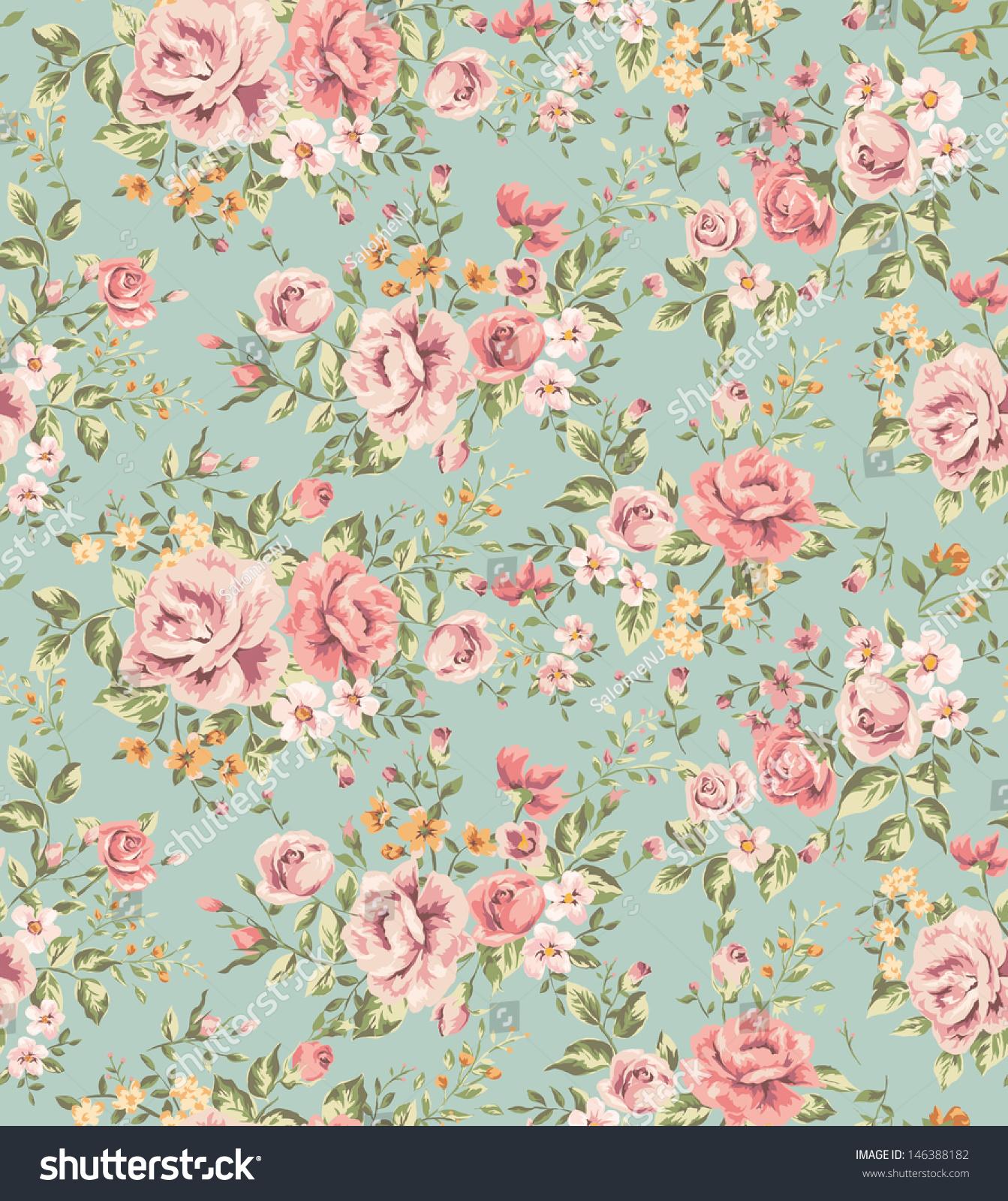 papel tapiz cl sico con patr n continuo de flores antiguas
