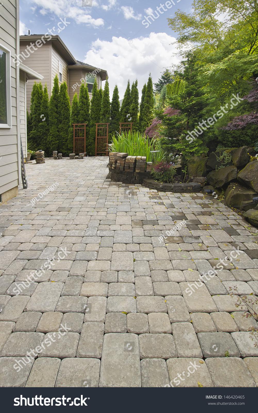 garden backyard hardscape brick pavers patio stock photo 146420465