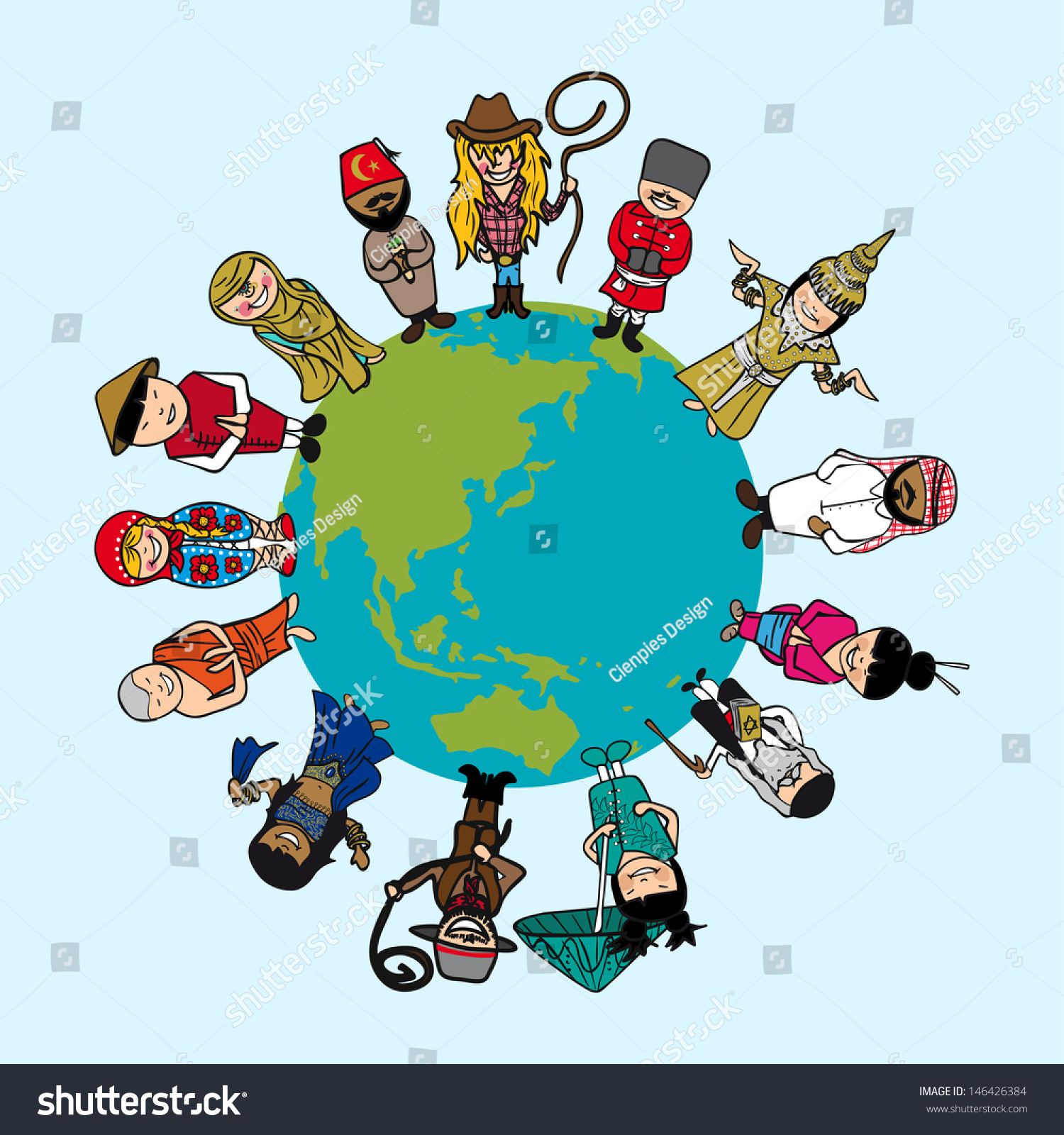 Global Cartoon People Distinctive Outfit Vector Stock