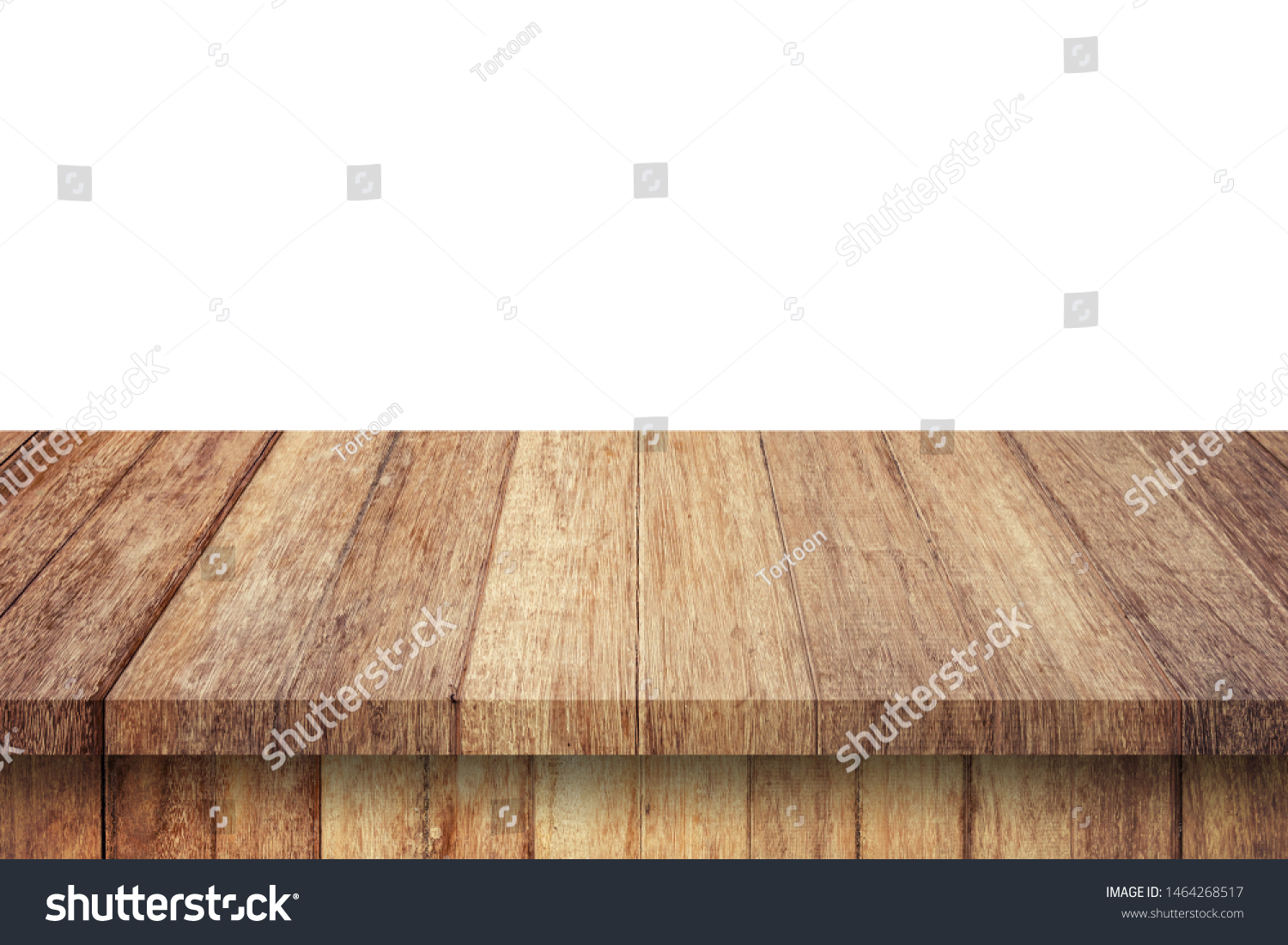 Empty wood table on isolate white background and display montage with copy space for product. #1464268517