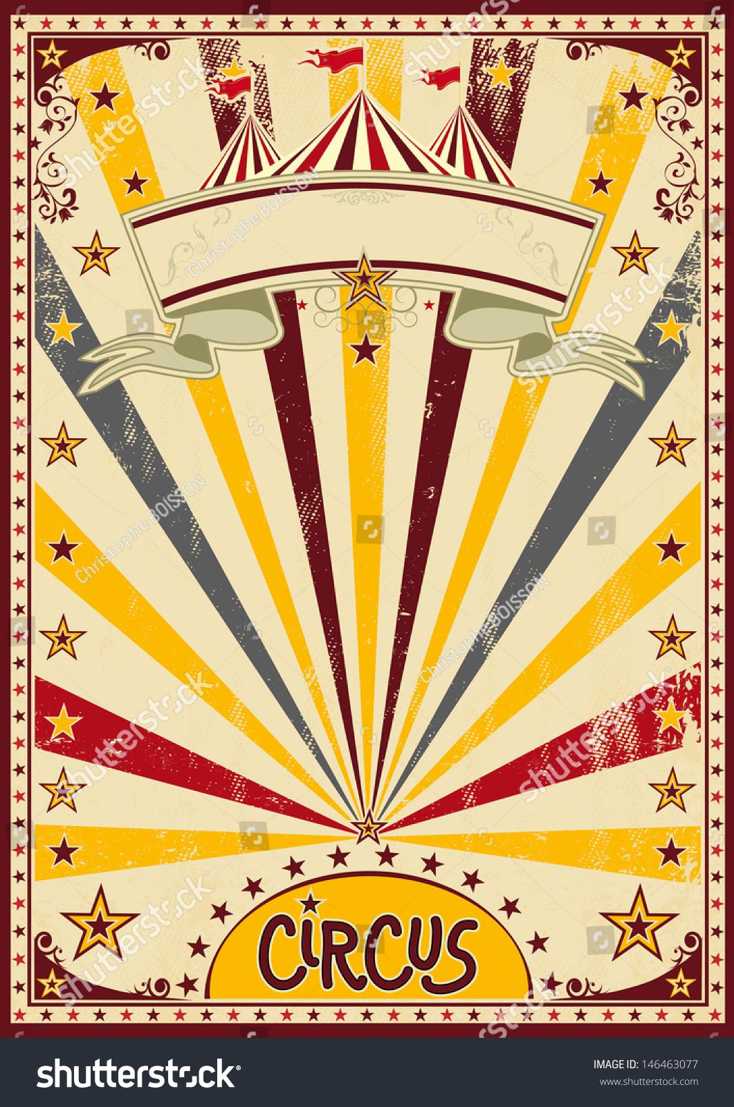 Circus Retro Circus Background Poster Grunge Stock Vector ...